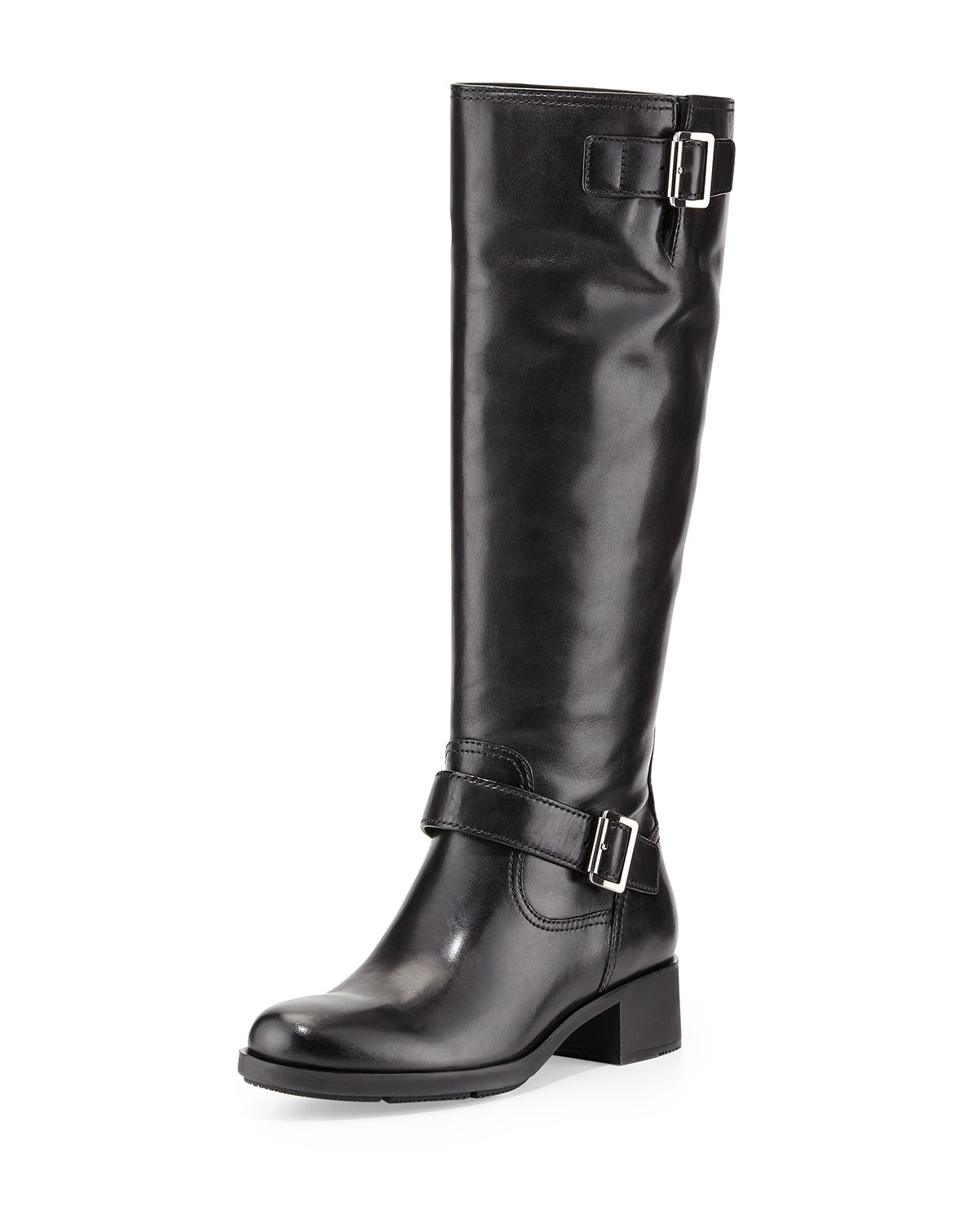 prada tan leather handbag - Prada linea rossa Leather Moto Knee Boot in Black | Lyst