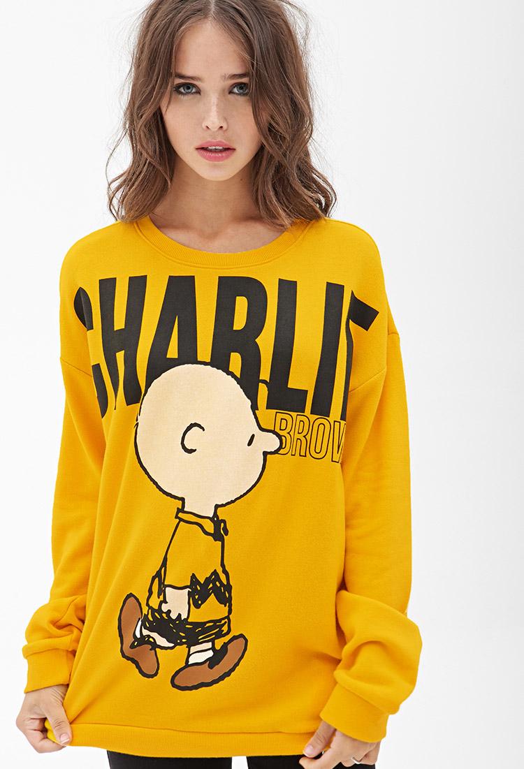 Forever 21 Charlie Brown Sweatshirt In Yellow Lyst