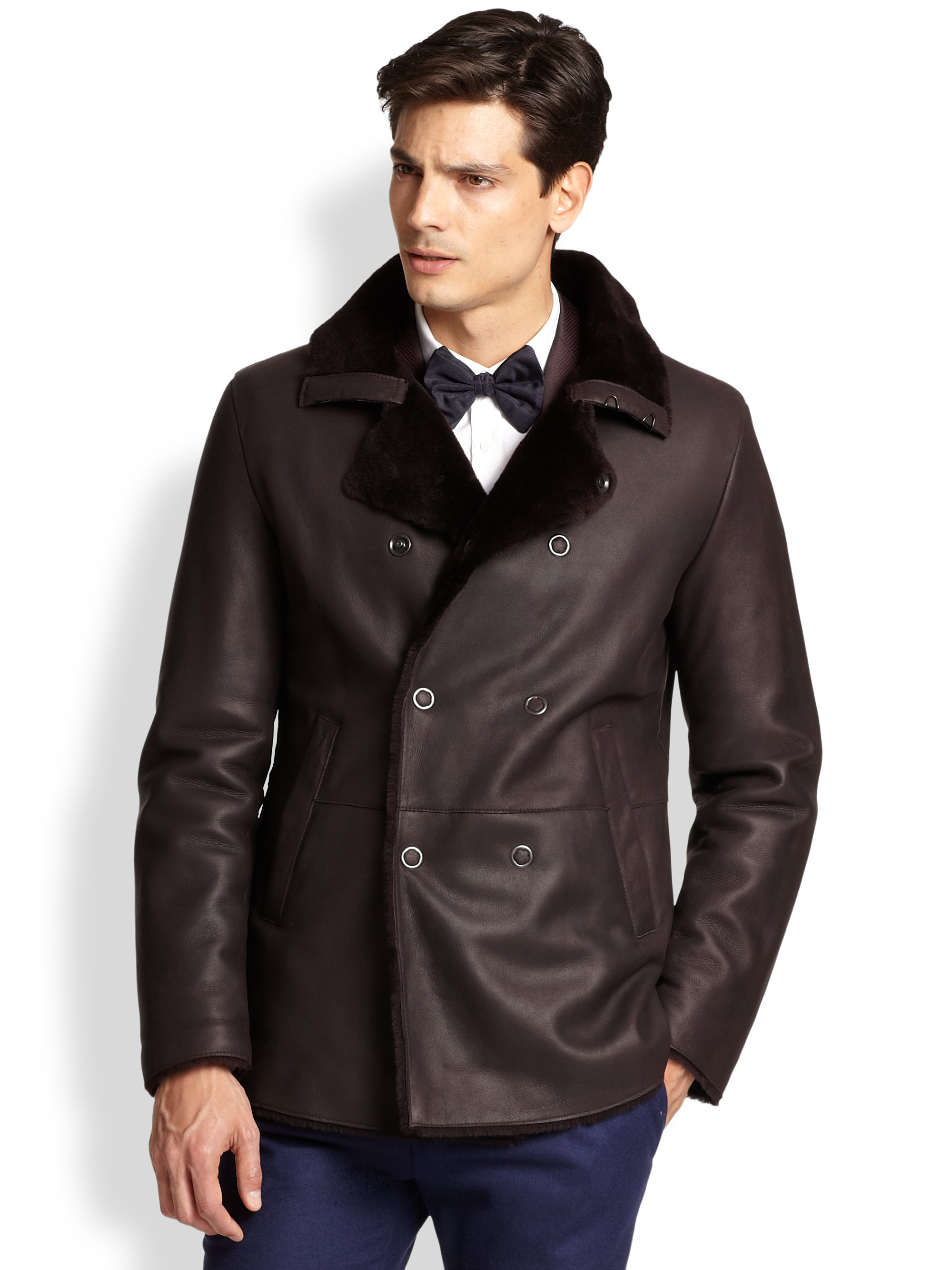Armani Double Breasted Shearling Coat In Purple For Men Lyst