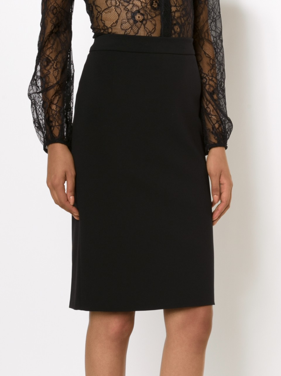 lanvin back zip pencil skirt in black lyst
