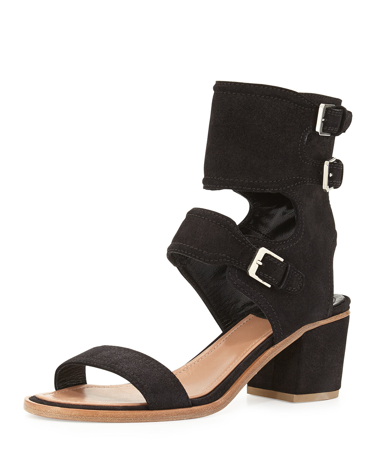 laurence dacade suede ankle cuff sandals in black lyst