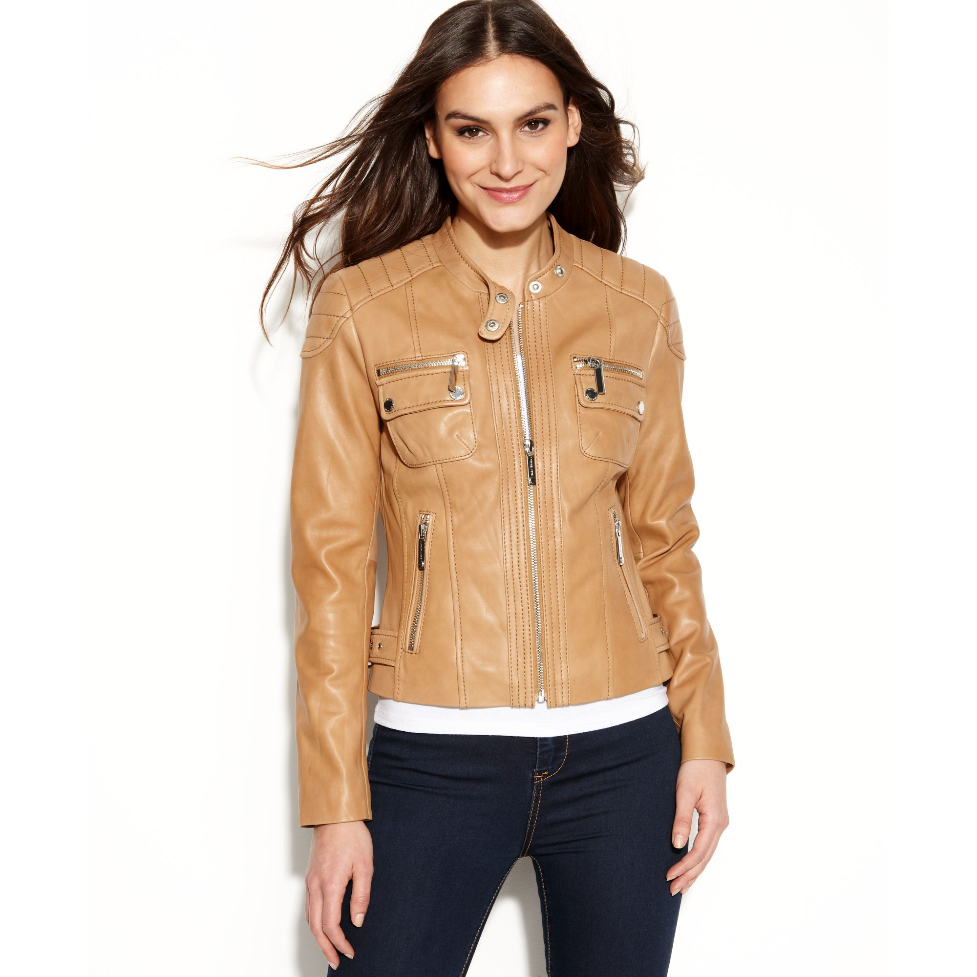 c1fb3da9efd1e Lyst - Michael Kors Quilted Detail Leather Motorcycle Jacket in Brown