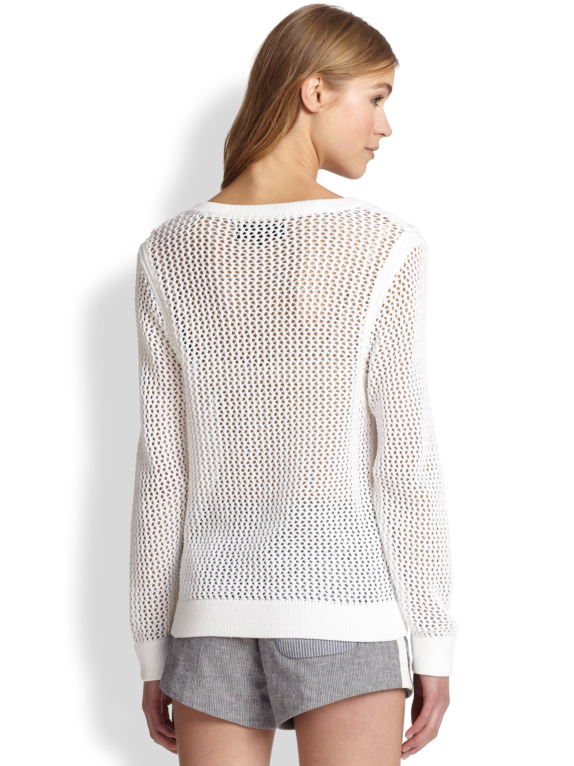 Rag & bone Connie Slouchy Openweave Cotton Sweater in White | Lyst
