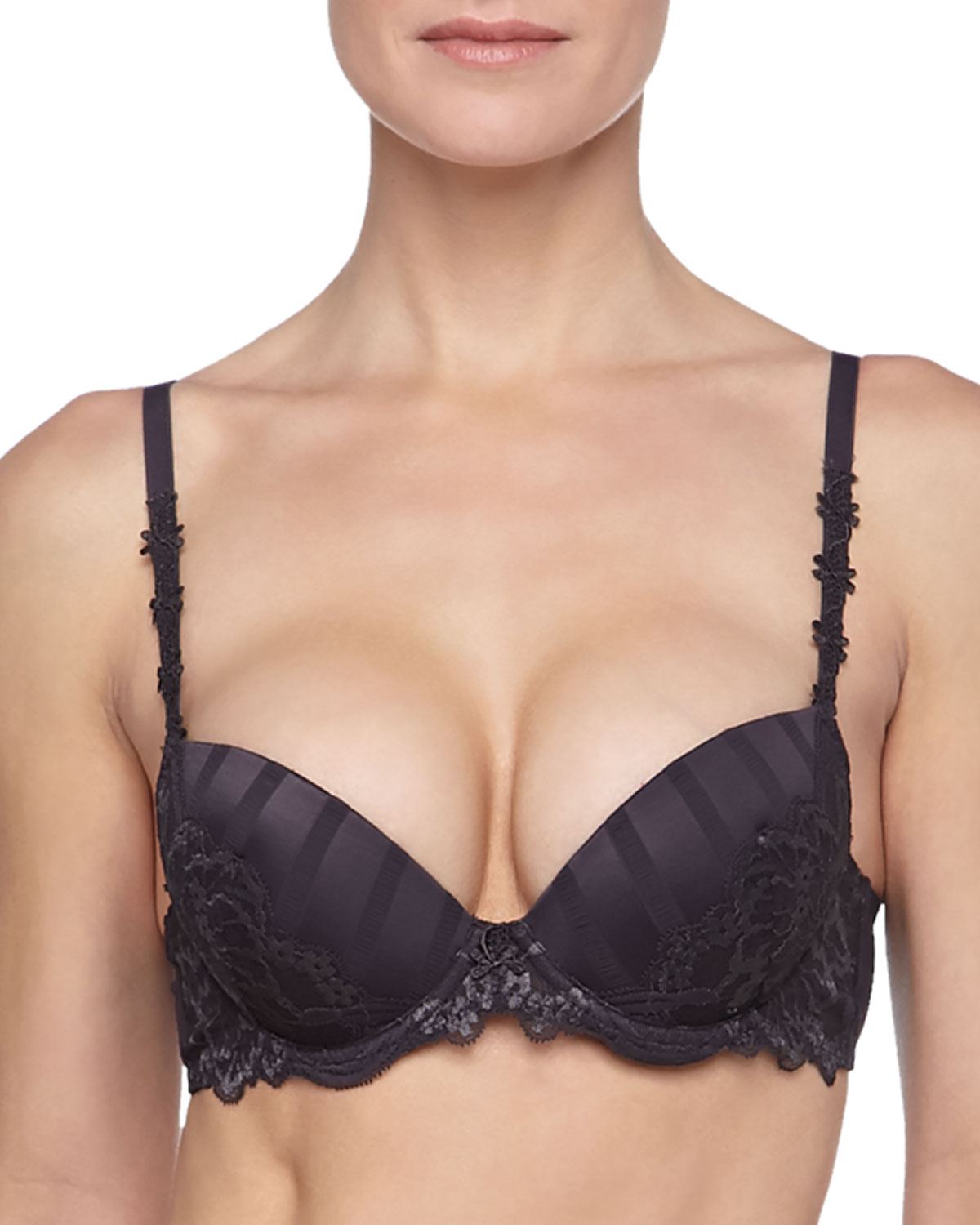 6d46446724 Lyst - Simone Perele Amour Mixed-lace Multi-position Push-up Bra in ...