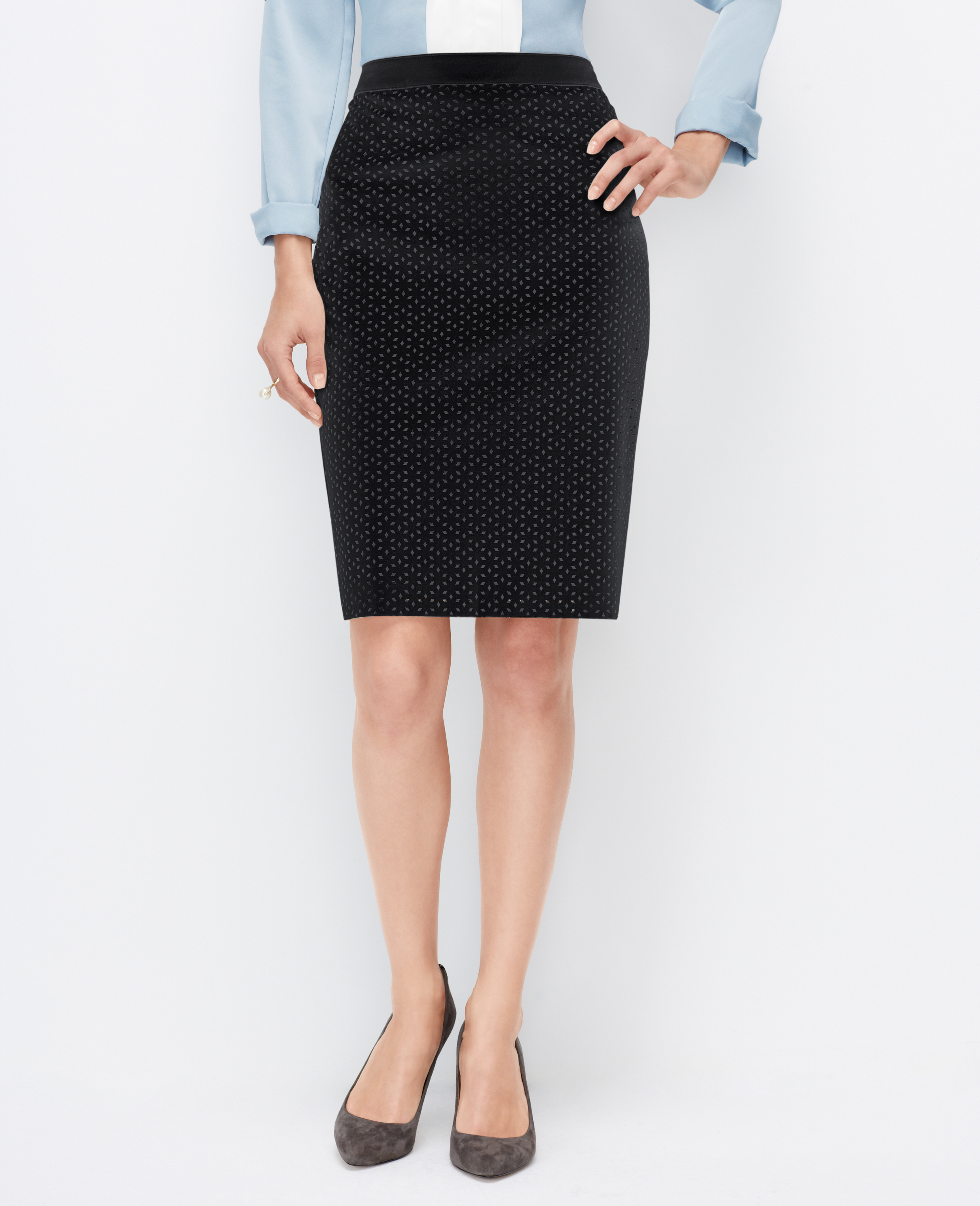 Ann taylor Petite Faux Leather Pencil Skirt in Black | Lyst