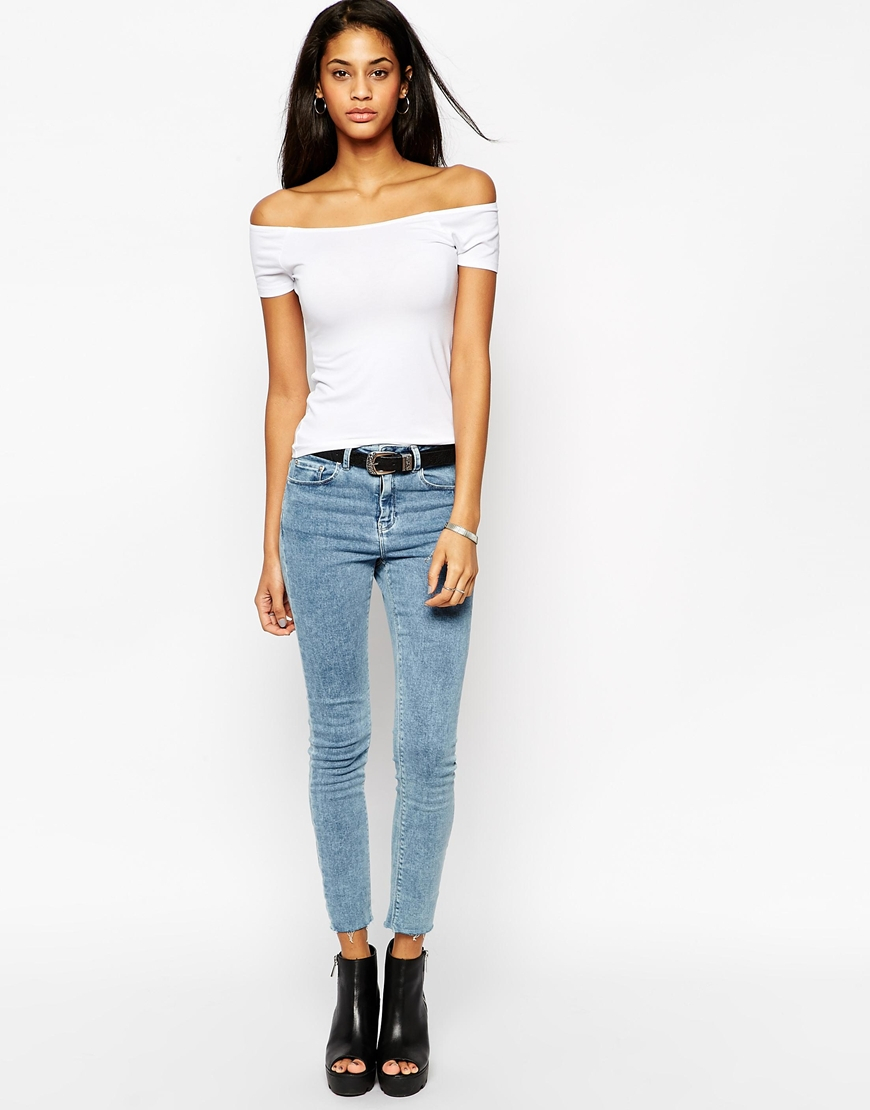 200b6635297471 Lyst - ASOS The Off Shoulder Top With Short Sleeves in Blue