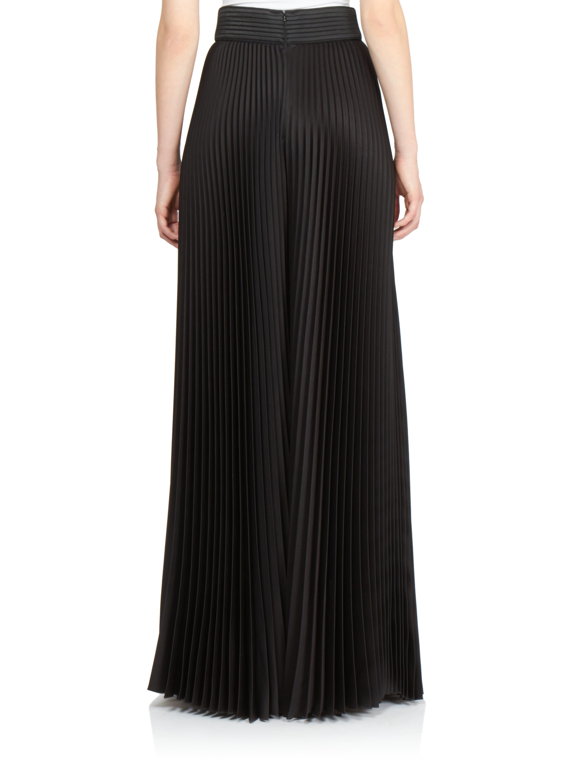 lyst emanuel ungaro leathertrimmed pleated palazzo