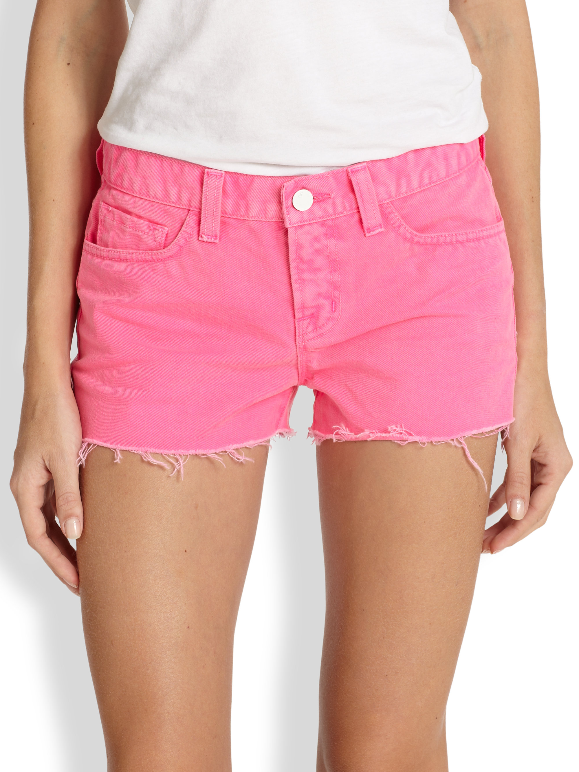 J brand Cut-Off Denim Shorts in Pink | Lyst