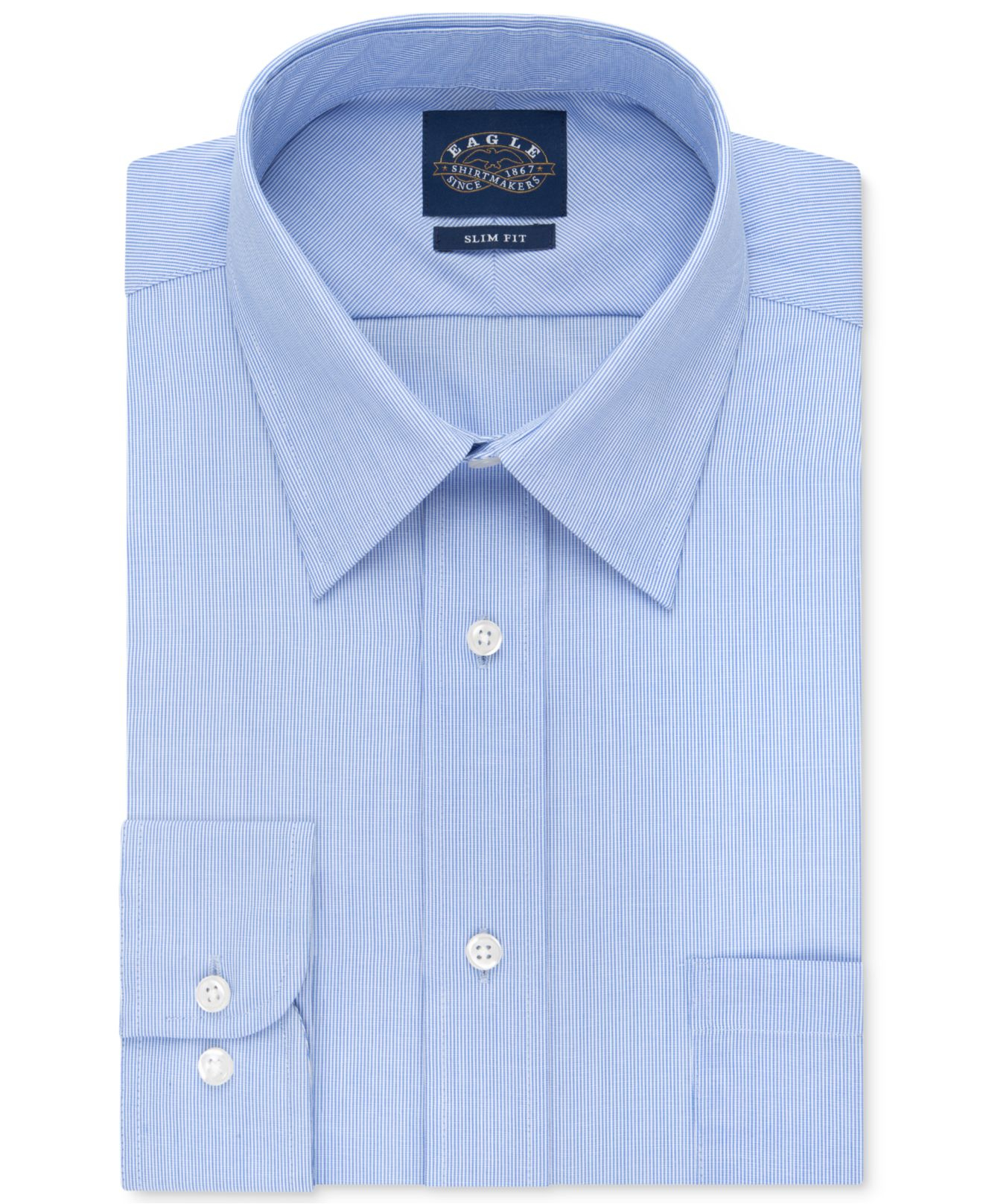 Eagle men 39 s slim fit non iron blue crystal micro stripe for Slim fit non iron shirts