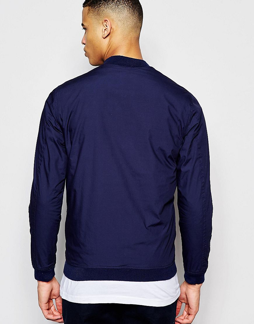 Pull bear bomber jacket in navy in blue for men lyst for Bear river workwear shirts