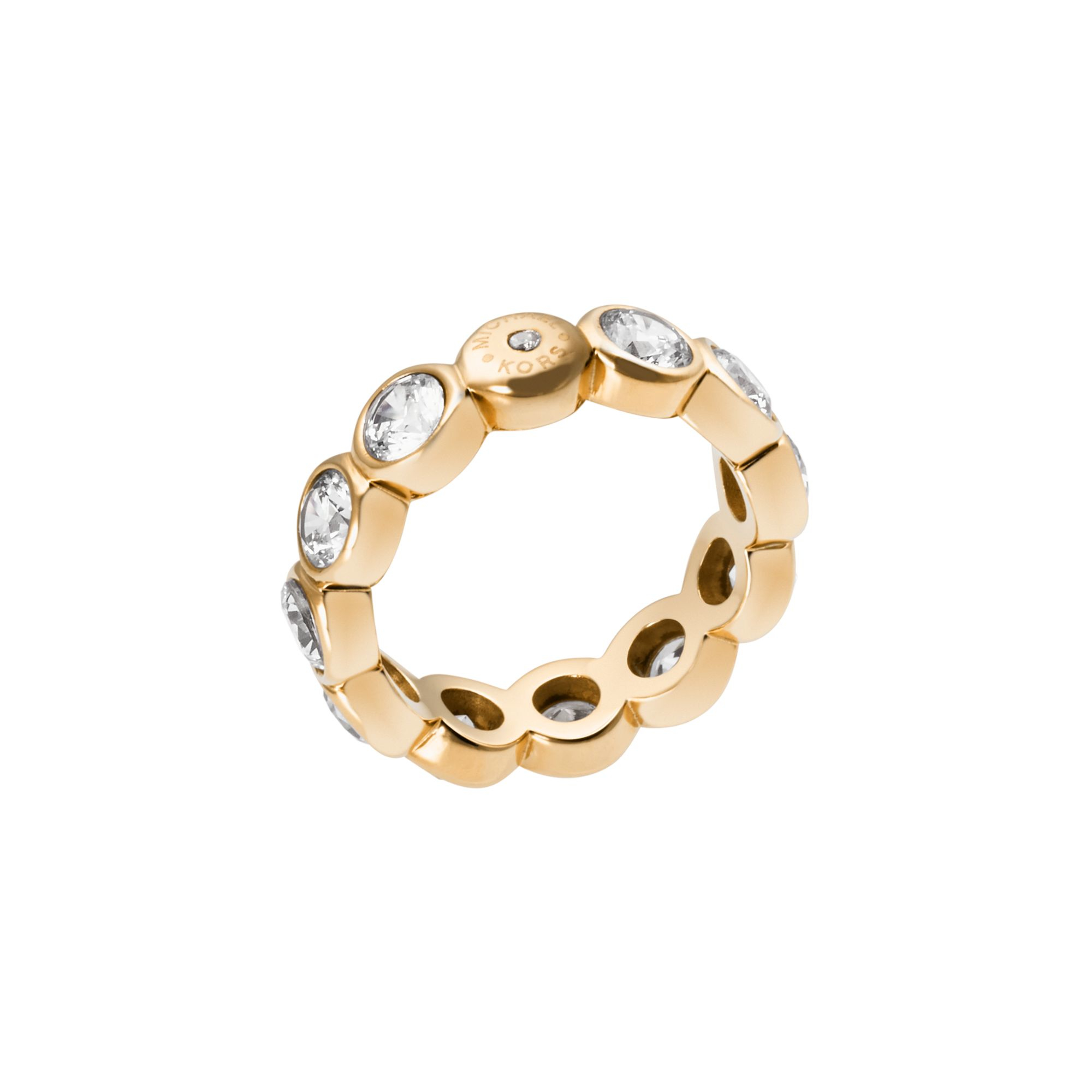 michael kors cubic zirconia gold tone circle ring in gold