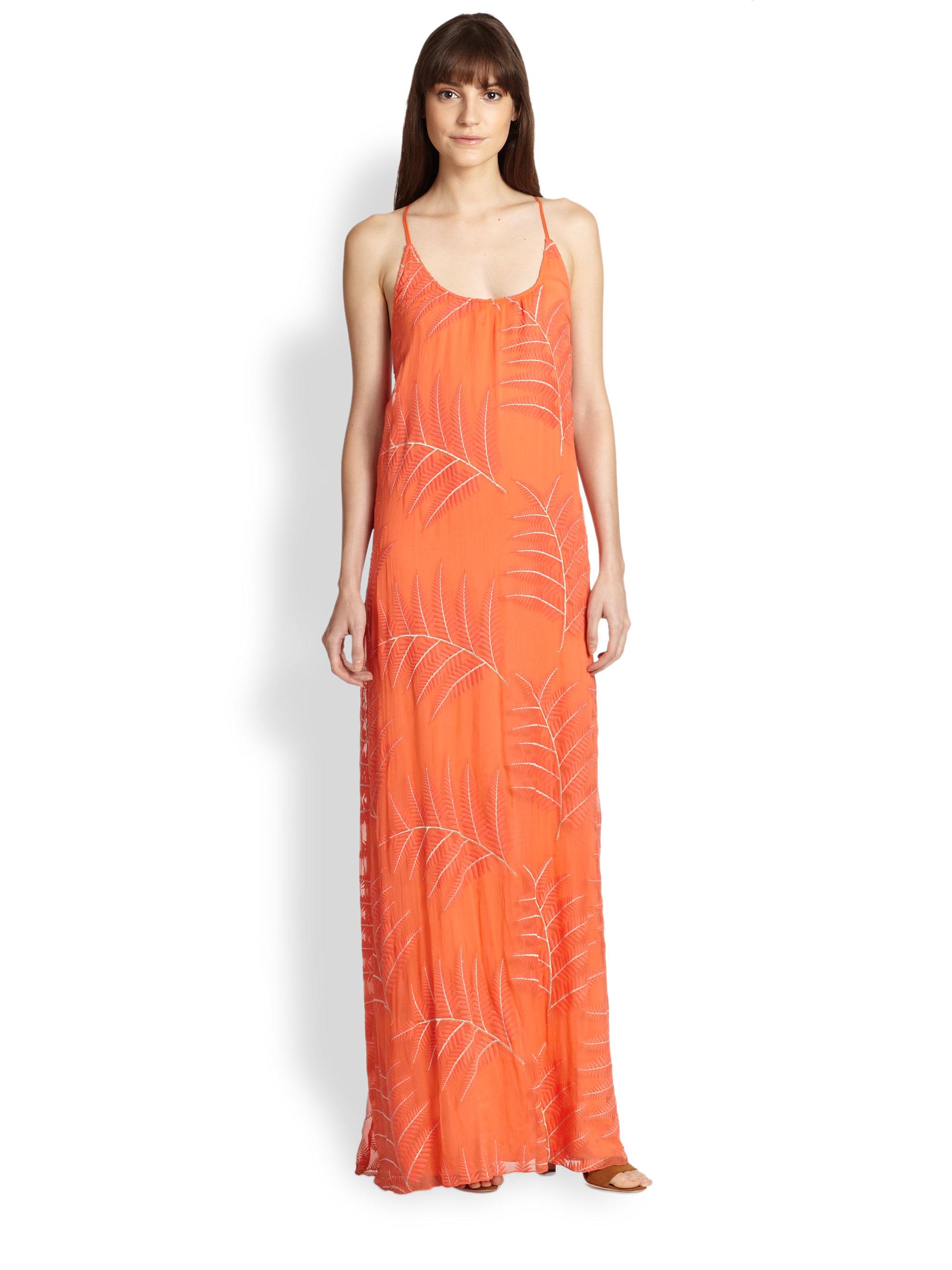 Alice   olivia Kelly Embroidered Silk Chiffon Maxi Dress in Orange ...