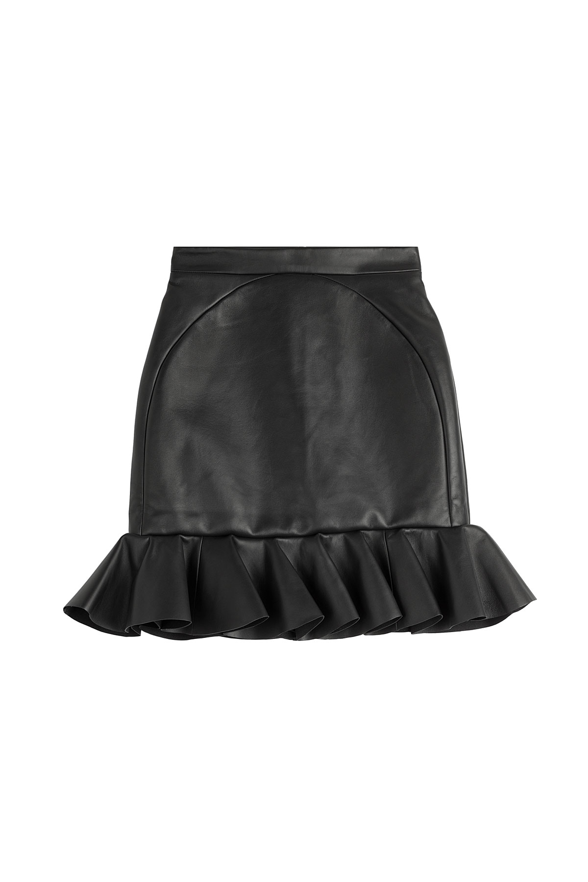 david koma leather ruffle hem mini skirt black in black