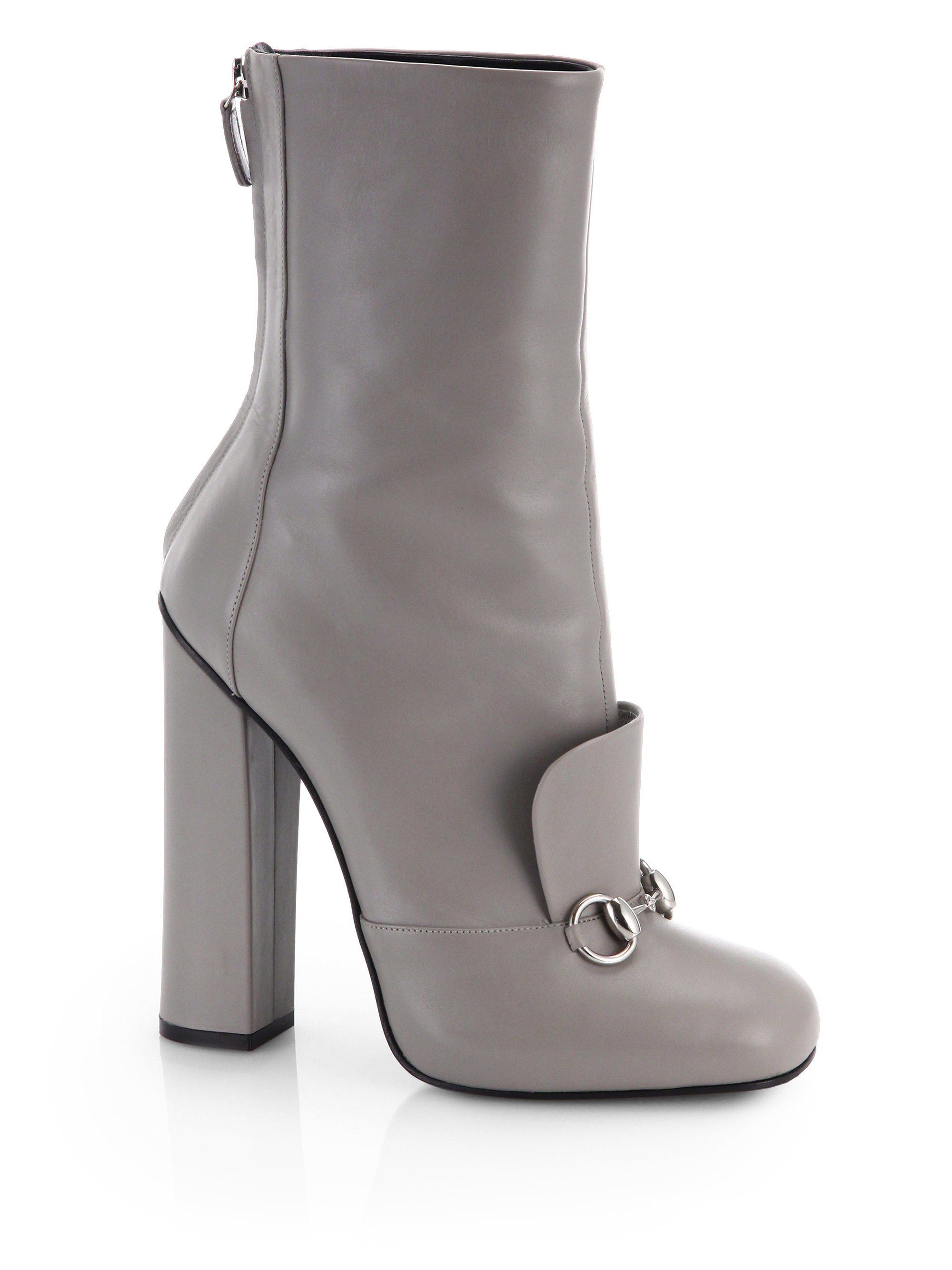 79413a57653bb0 Lyst - Gucci Lillian Horsebit Leather Ankle Boots in Gray