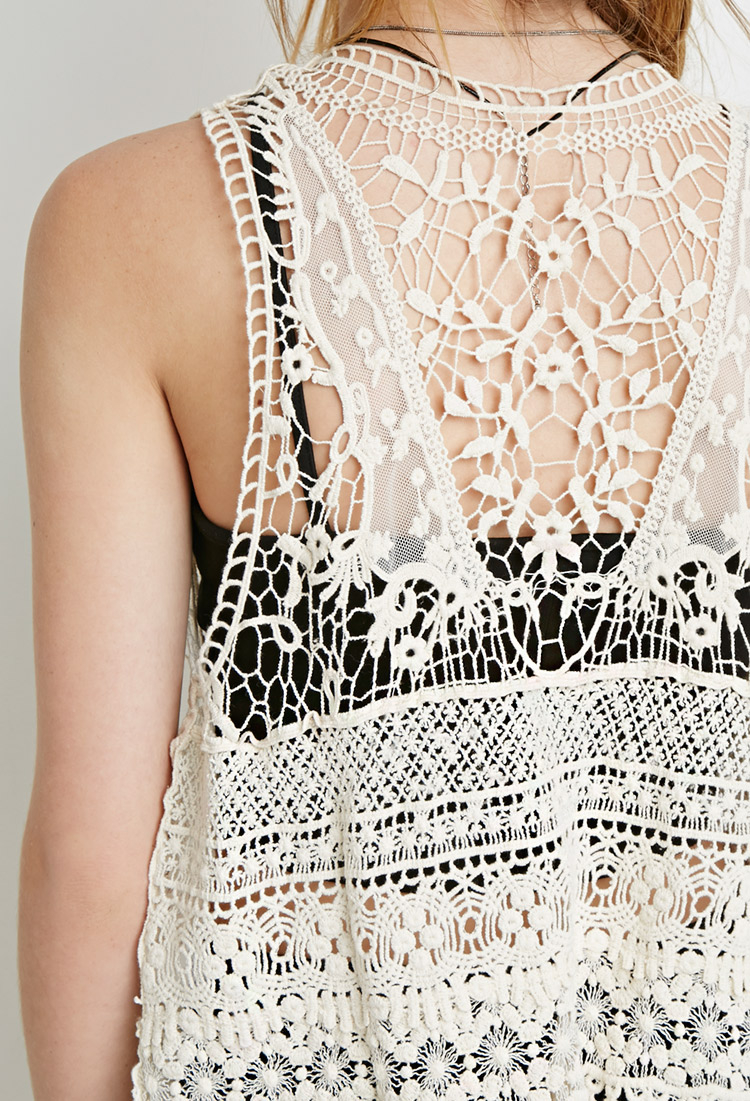 Lyst - Forever 21 Floral Crochet Vest in Natural