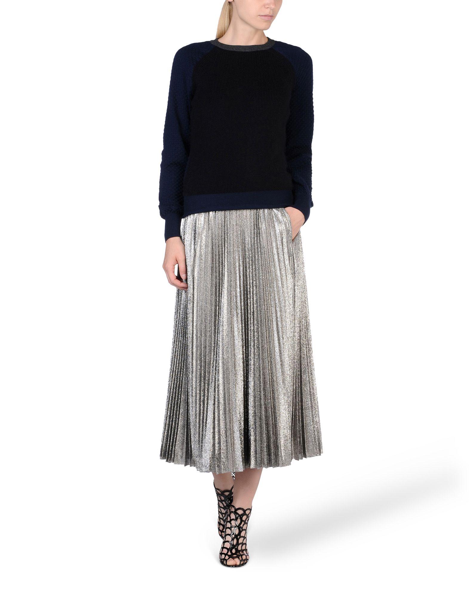 cedric charlier pleated silk blend lam 233 midi skirt in