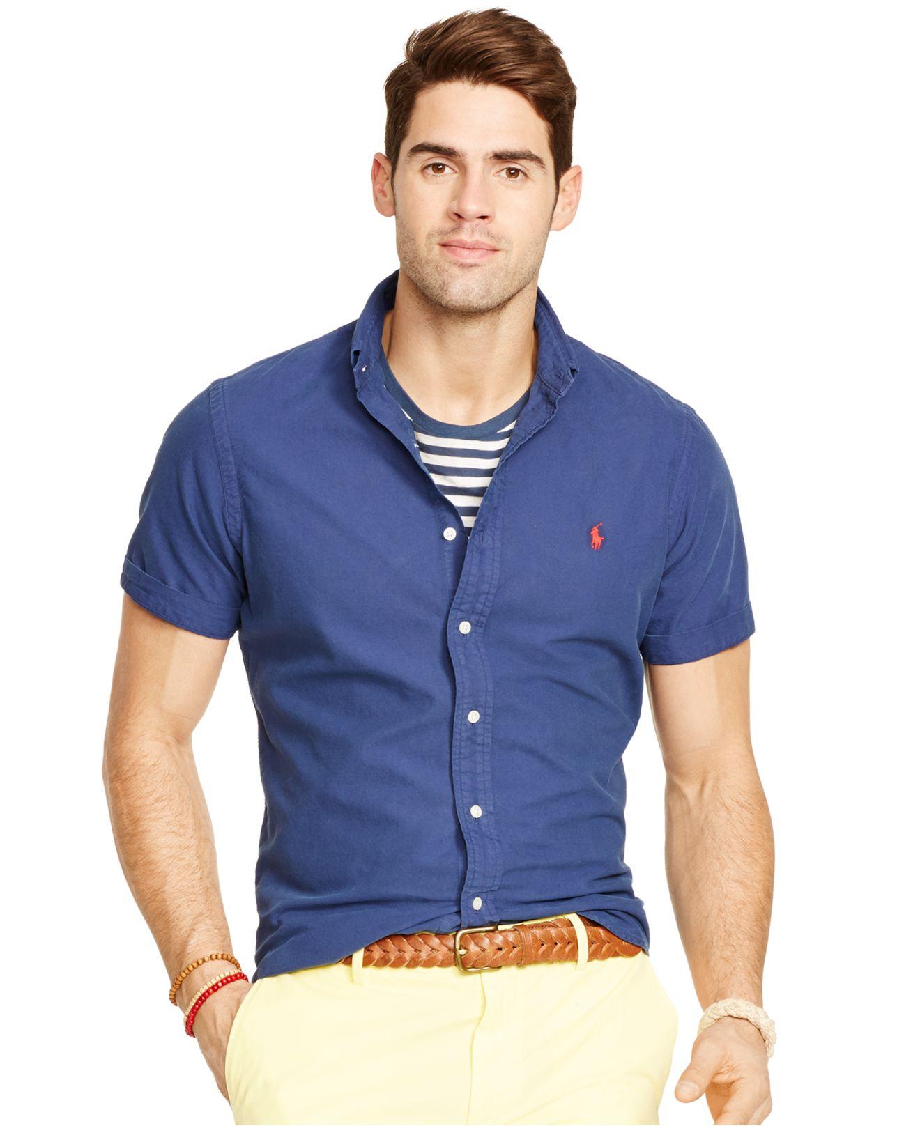 Polo ralph lauren short sleeved oxford shirt in blue for for Ralph lauren polo club shirts