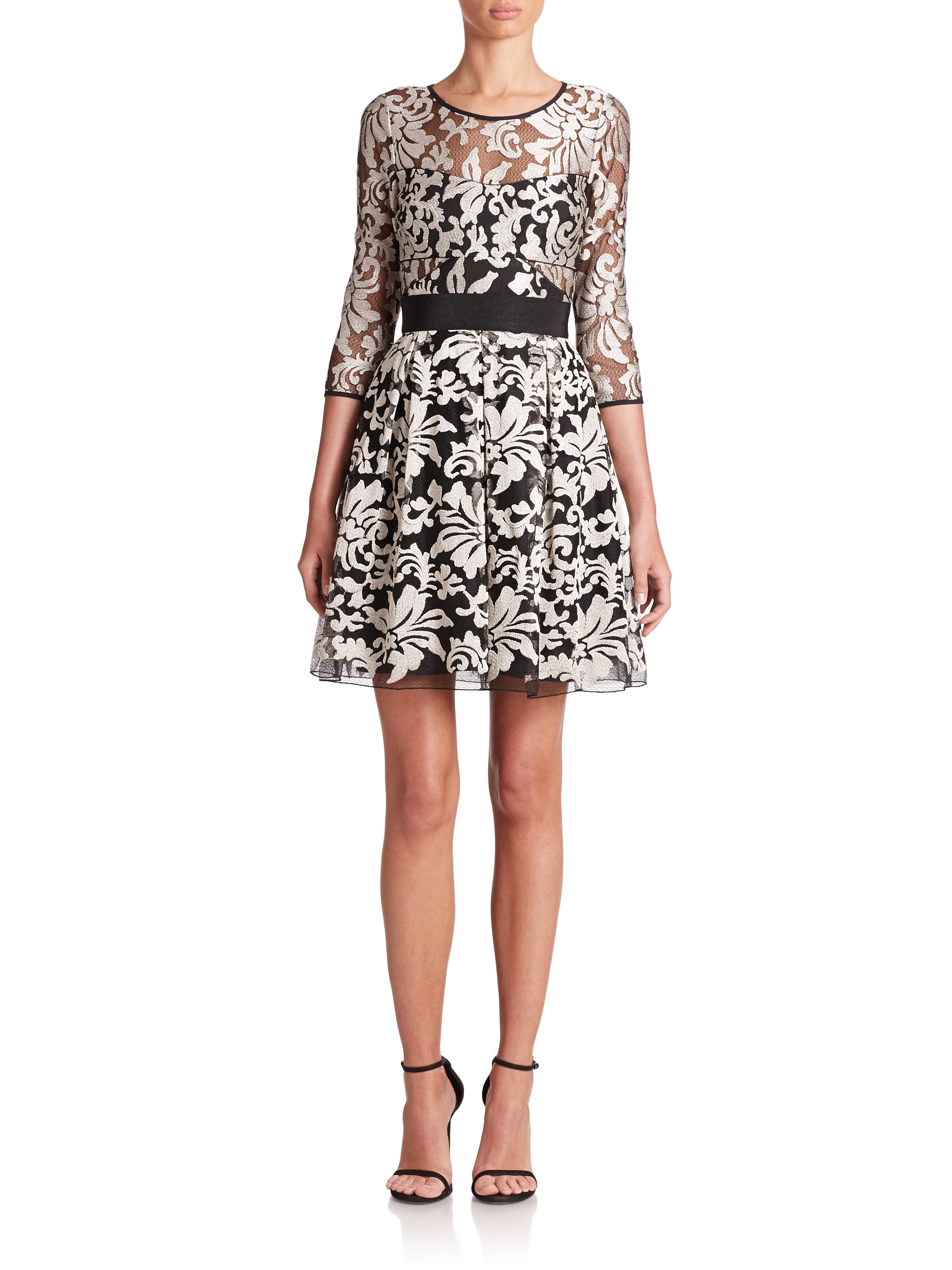Lyst Abs By Allen Schwartz Lace Fit Amp Flare Dress In