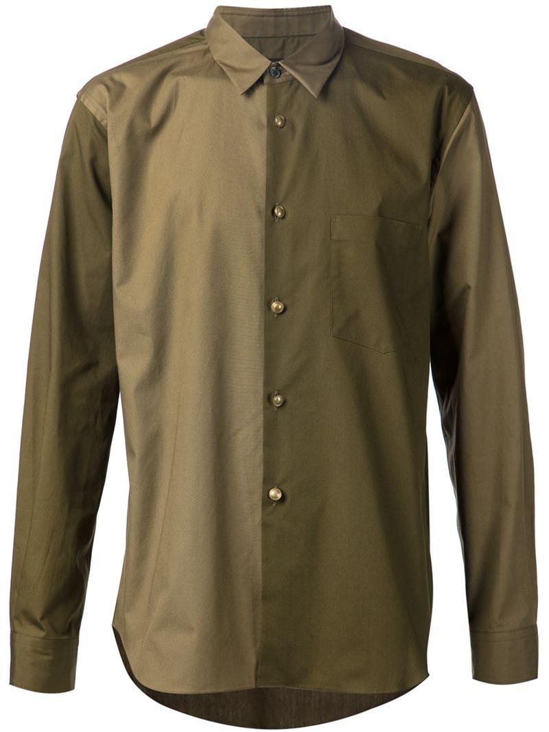 comme des gar ons colour block shirt in green for men lyst. Black Bedroom Furniture Sets. Home Design Ideas