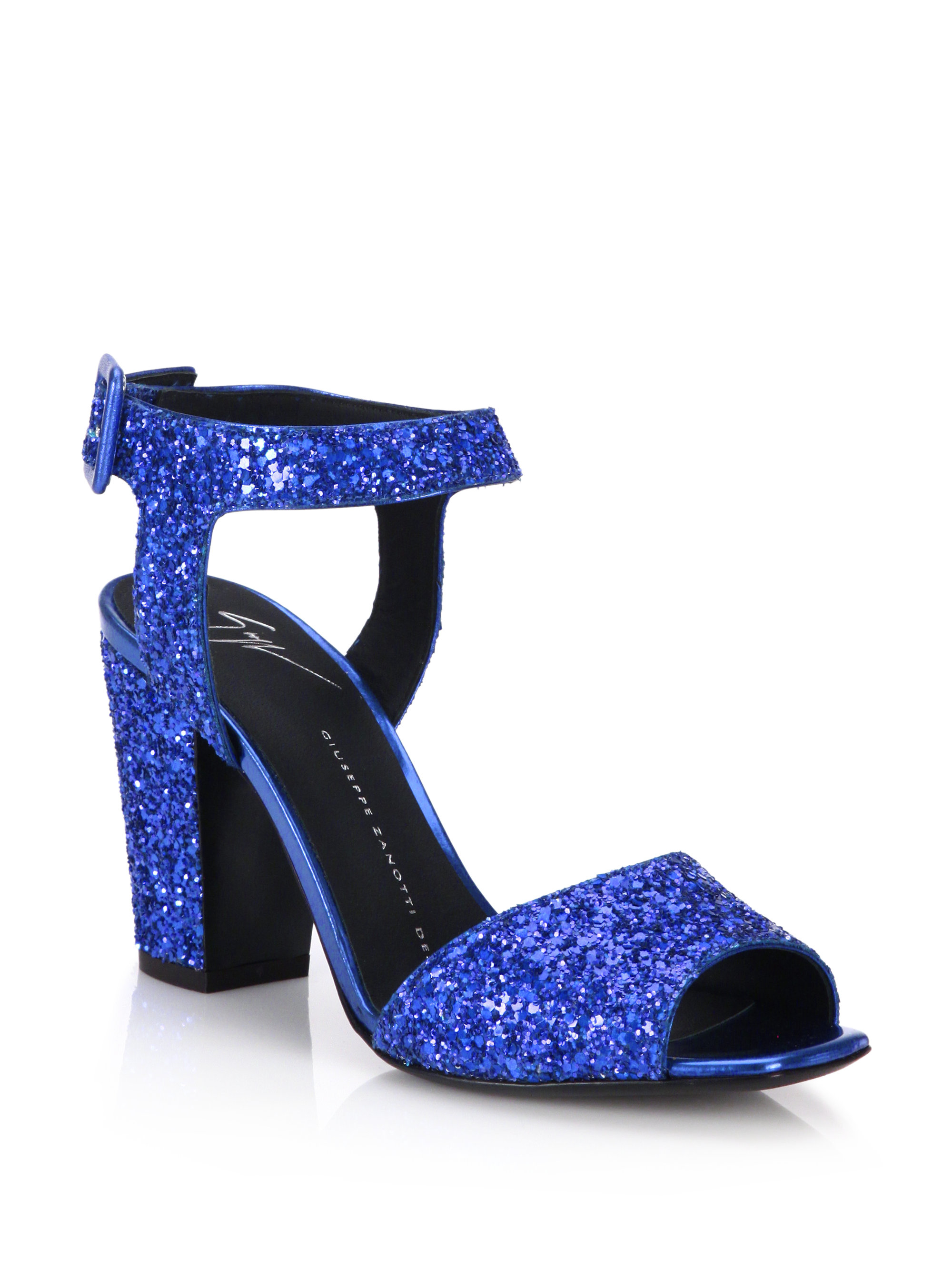 4327c45a359a Lyst - Giuseppe Zanotti Glitter Mid-heel Sandals in Blue