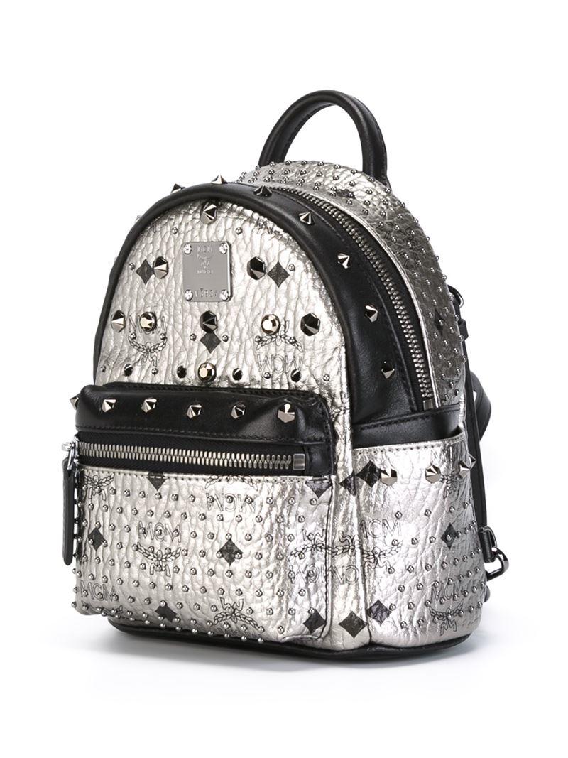 8fc410e649eca Lyst - MCM  stark  Small Studded Backpack in Gray