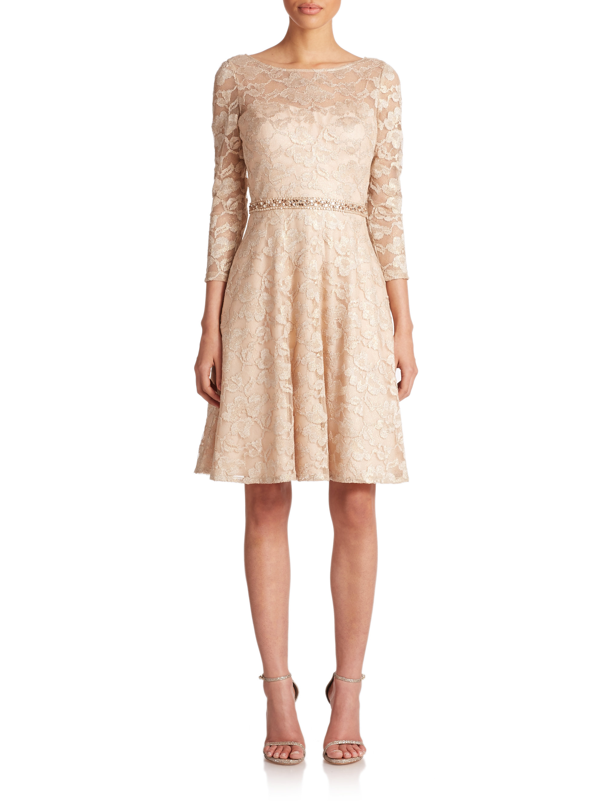 Lyst Aidan Mattox Beaded Metallic Lace Dress In Metallic