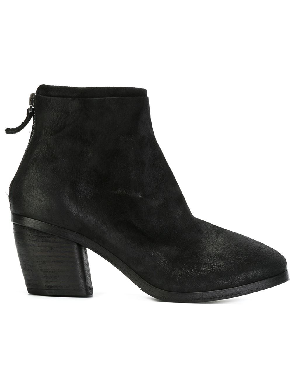 mars 232 ll distressed chunky heel suede boots in black lyst