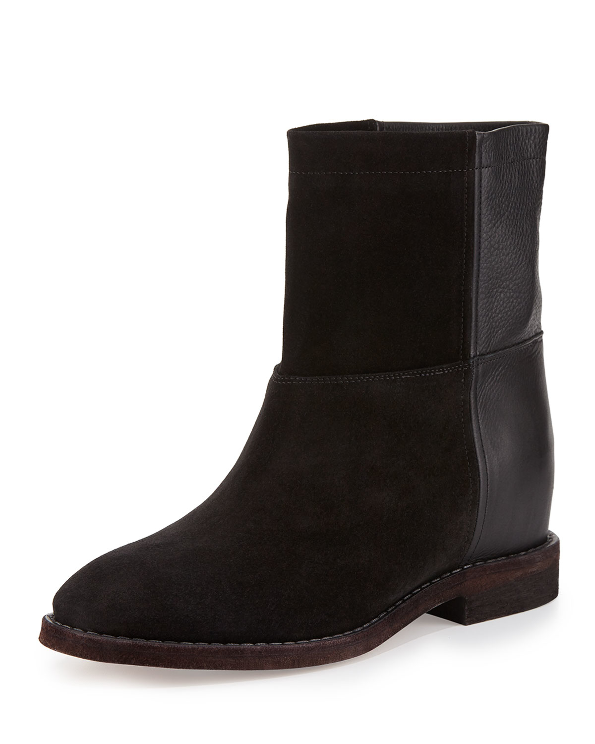 Vince Grayson Suede & Leather Short Boot in Black | Lyst