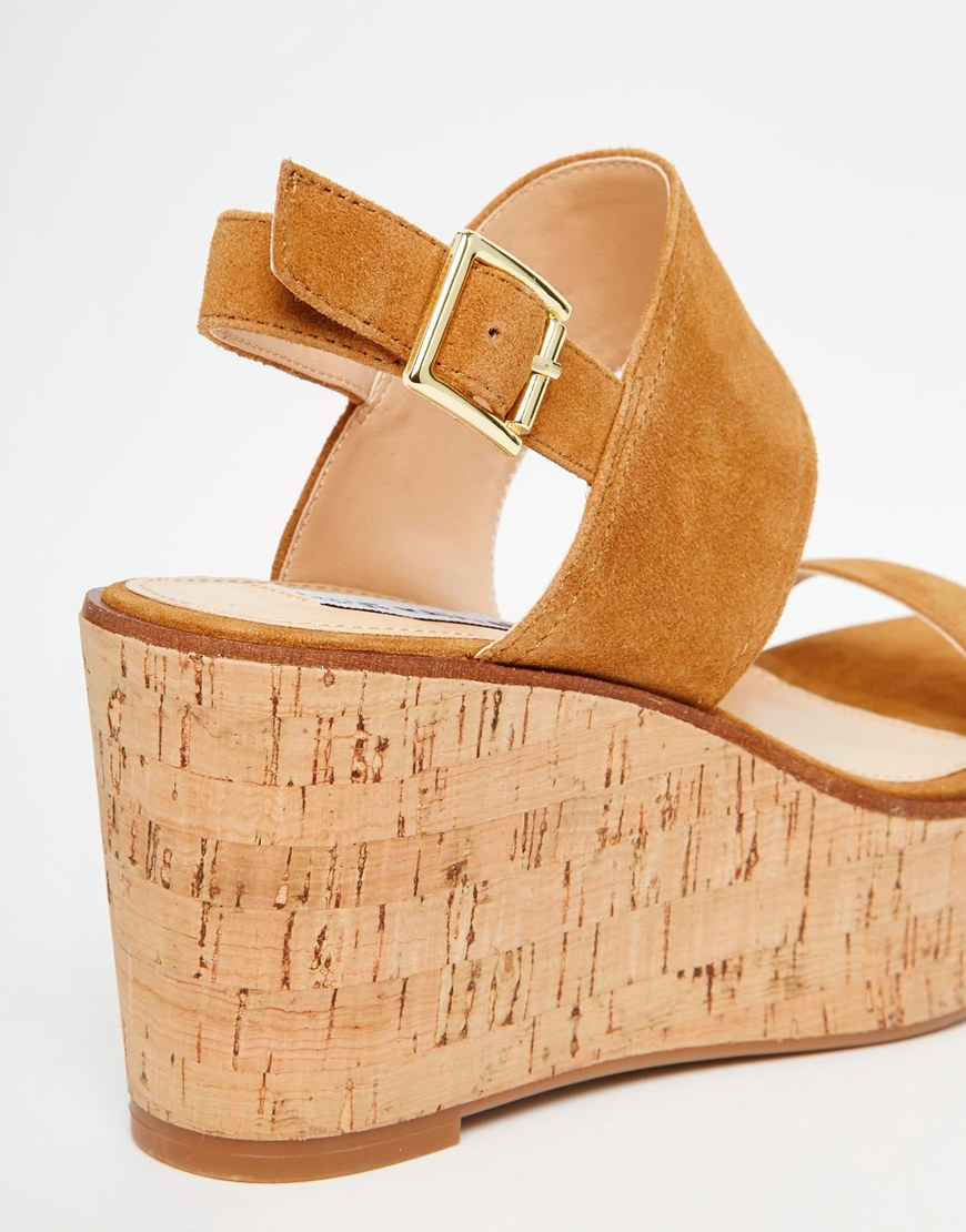 bb63a9efd Steve Madden Caitlyn Tan Suede Cork Wedge Sandals in Brown - Lyst