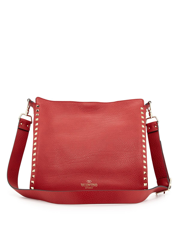 2b19cd8936 Valentino Rockstud Flip-lock Messenger Bag in Red - Lyst