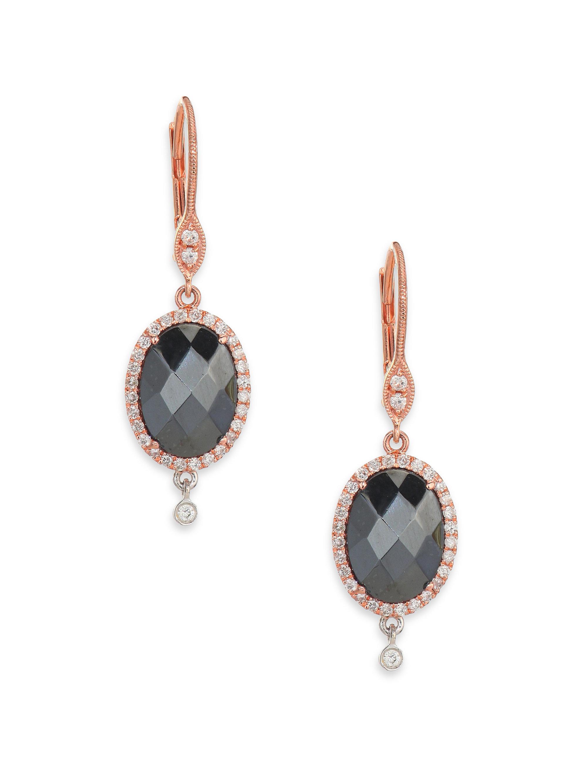 meira t hematite 14k gold drop earrings in