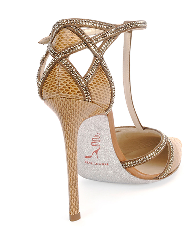 RENé CAOVILLA Strass T-Strap Crystal Sandals FPIcw