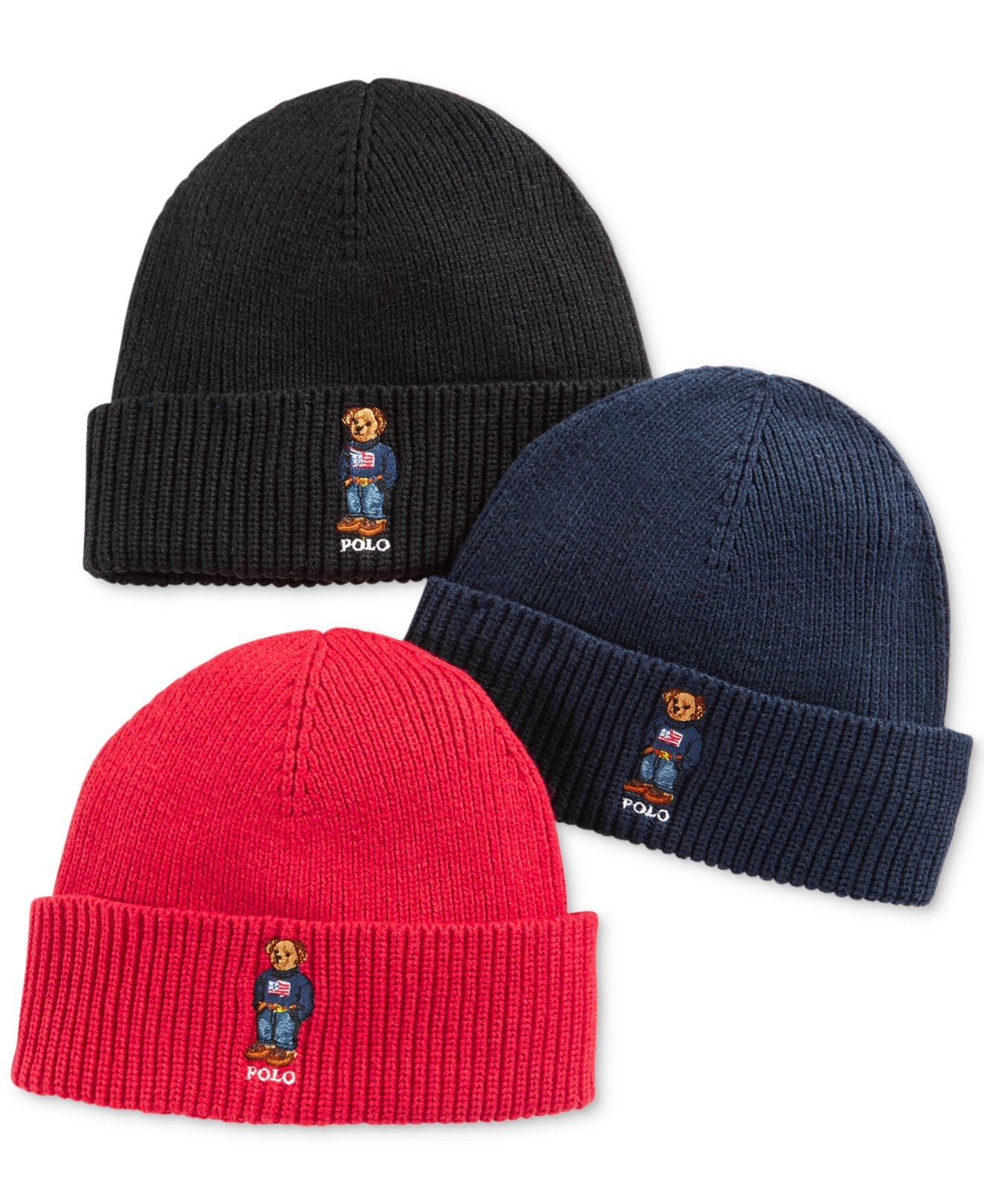 polo ralph lauren ribbed embroidered bear hat in black for. Black Bedroom Furniture Sets. Home Design Ideas