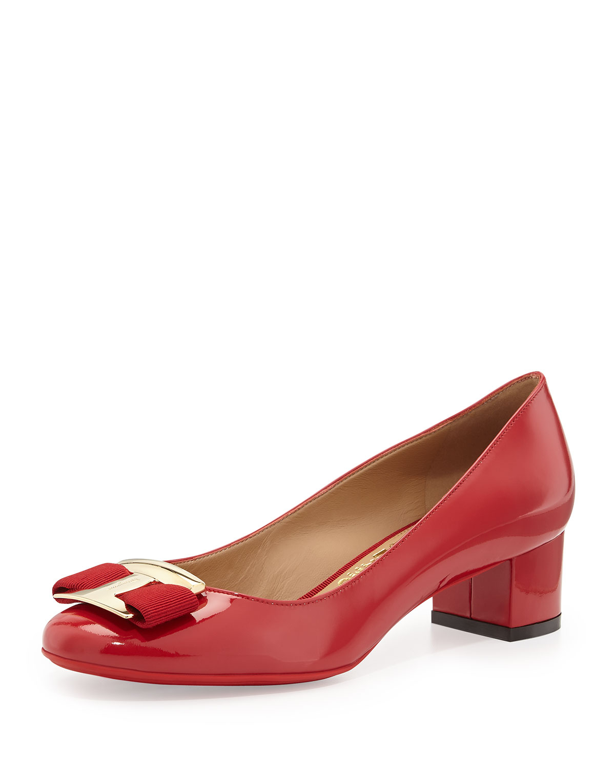 Ferragamo Ninna Low-heel Bow Pump in Red | Lyst