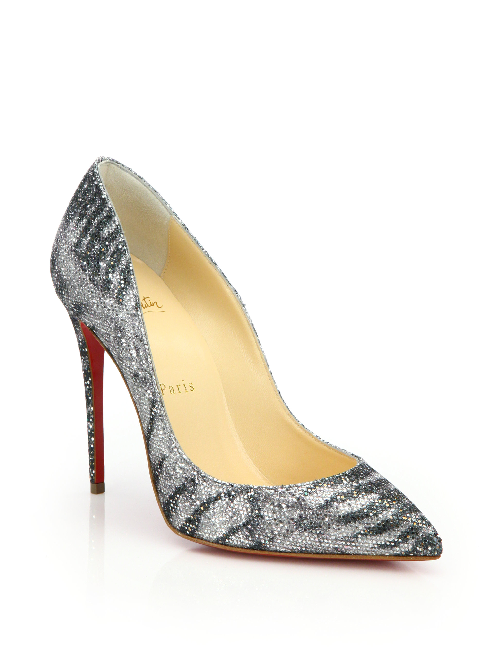 spikes shoes for men - Christian louboutin Pigalle Glittered Animal-print Pumps in Silver ...
