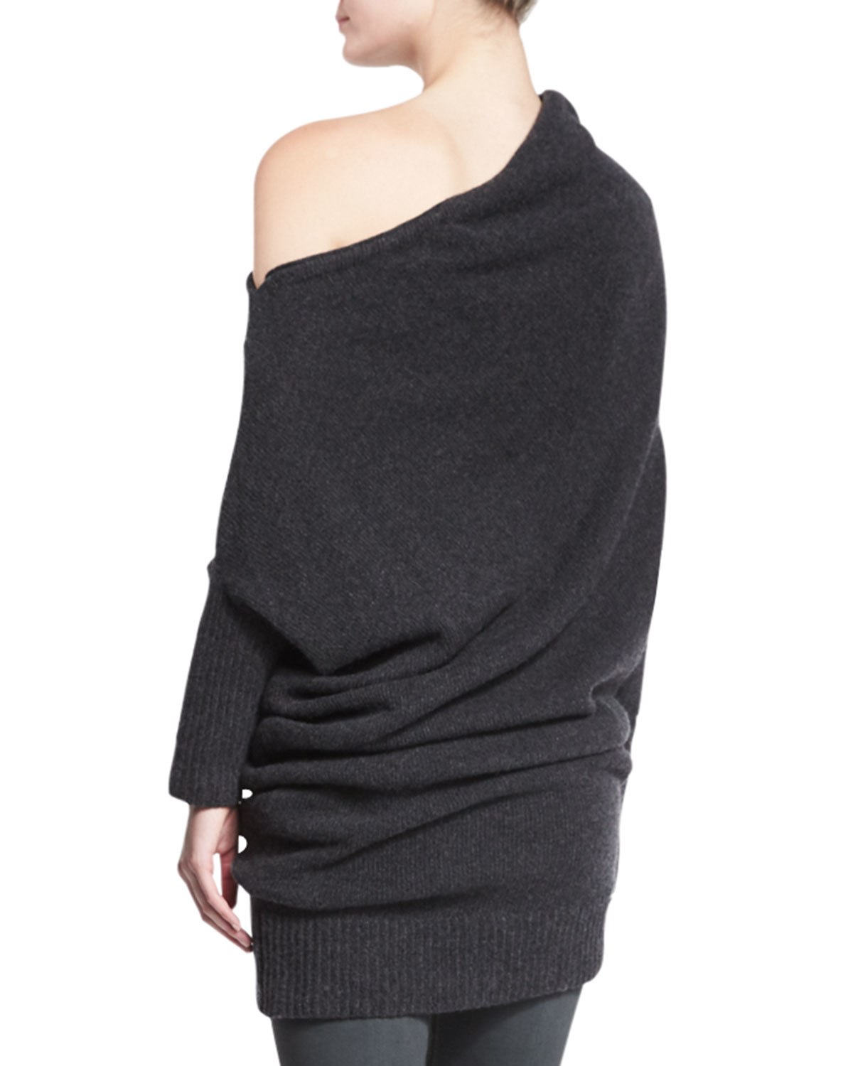 Donna karan Off-the-shoulder Cashmere Sweater in Black | Lyst