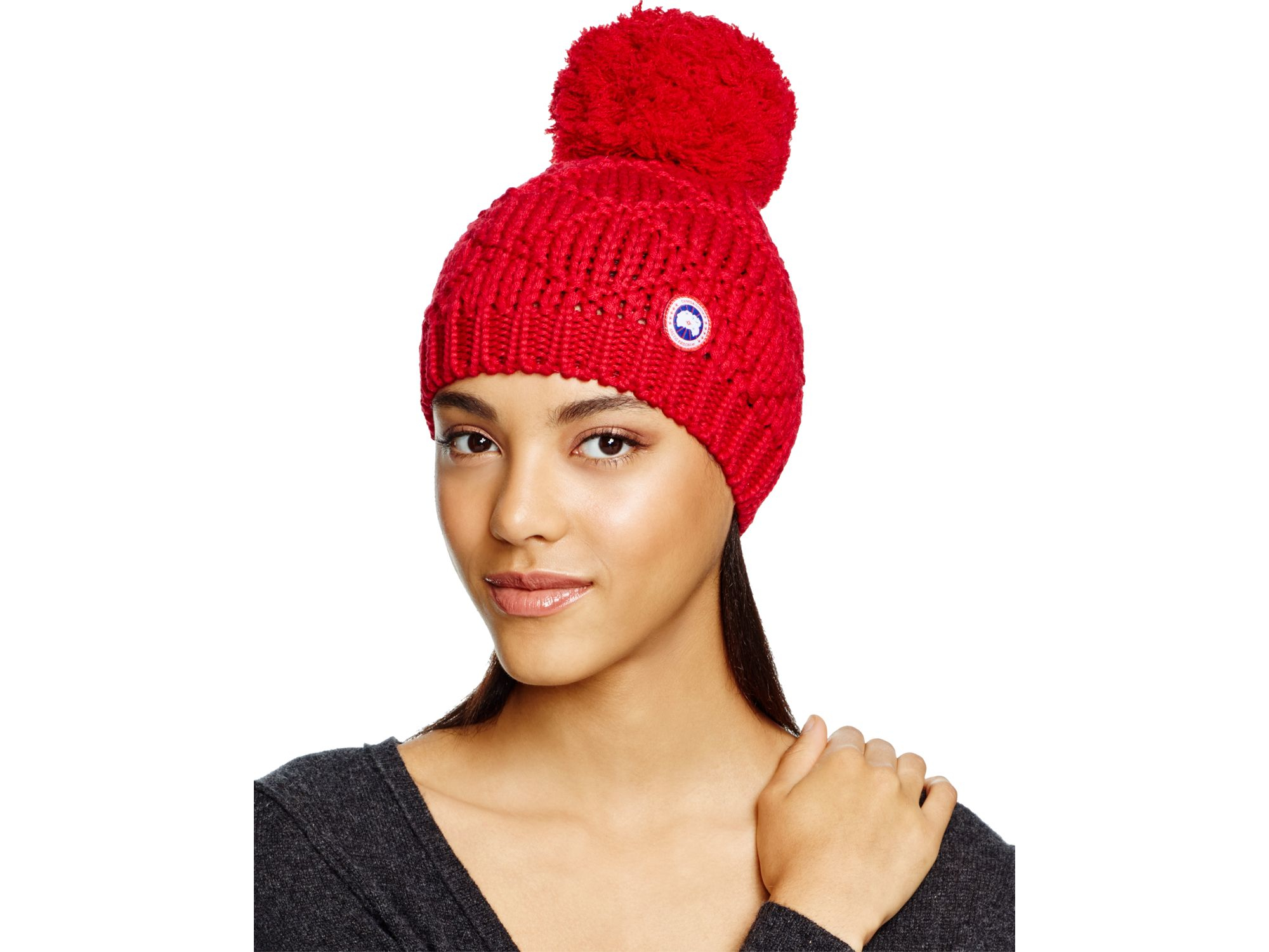 Lyst - Canada Goose Merino Wool Beanie With Oversized Pom-pom in Red 67e52afedc6