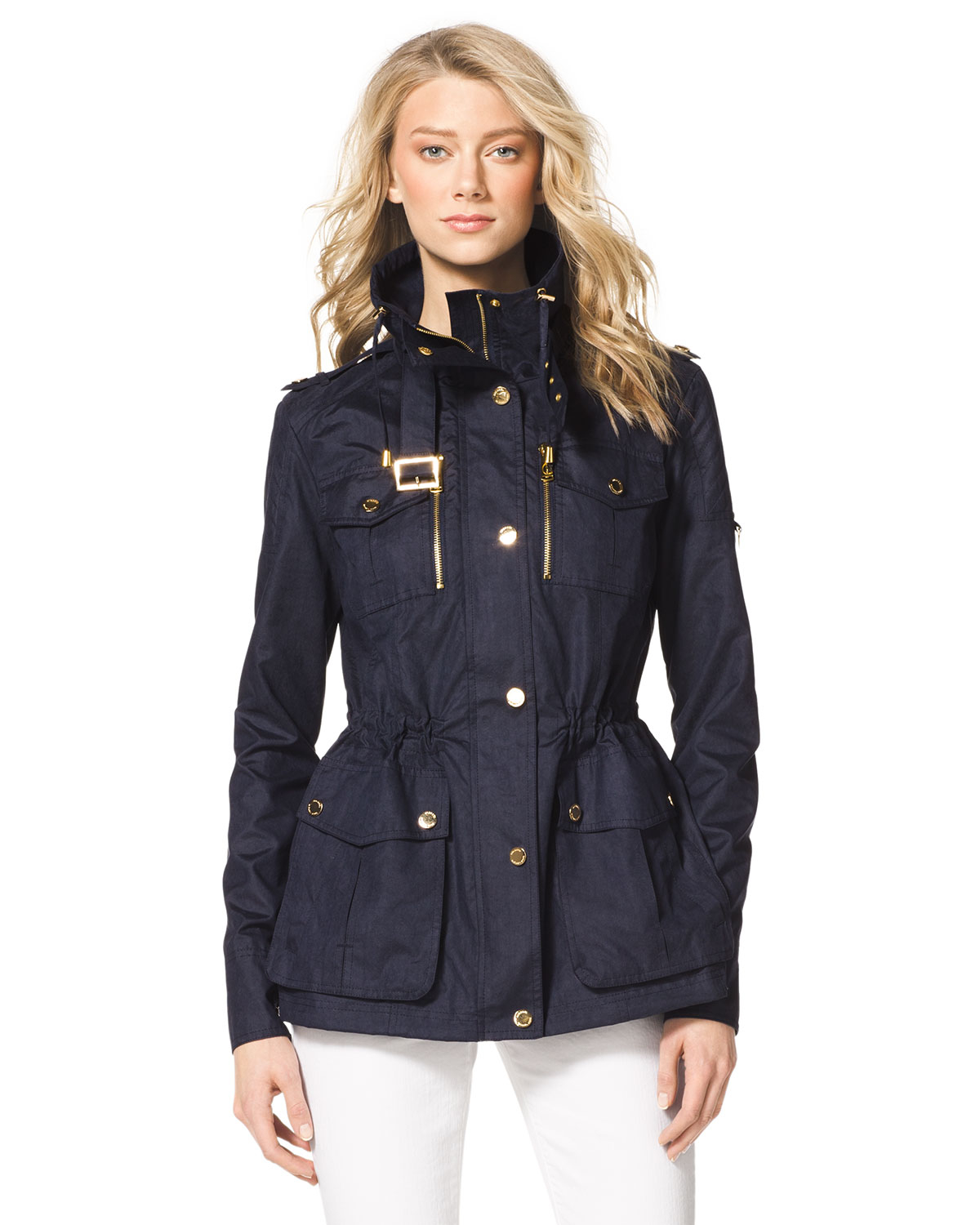 michael kors michael cinchwaist anorak in blue lyst. Black Bedroom Furniture Sets. Home Design Ideas