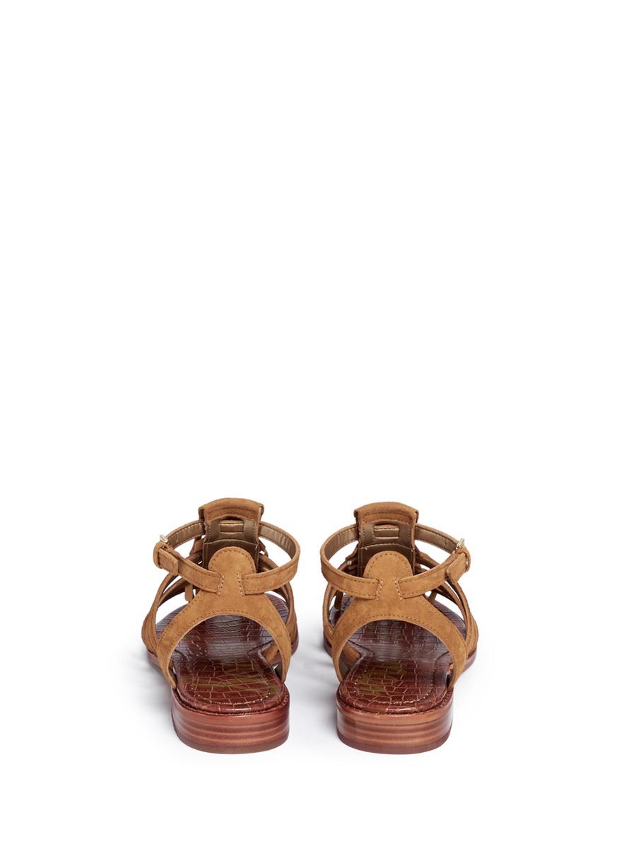 513882e1036910 Lyst - Sam Edelman  estelle  Fringe Caged Suede Sandals in Brown
