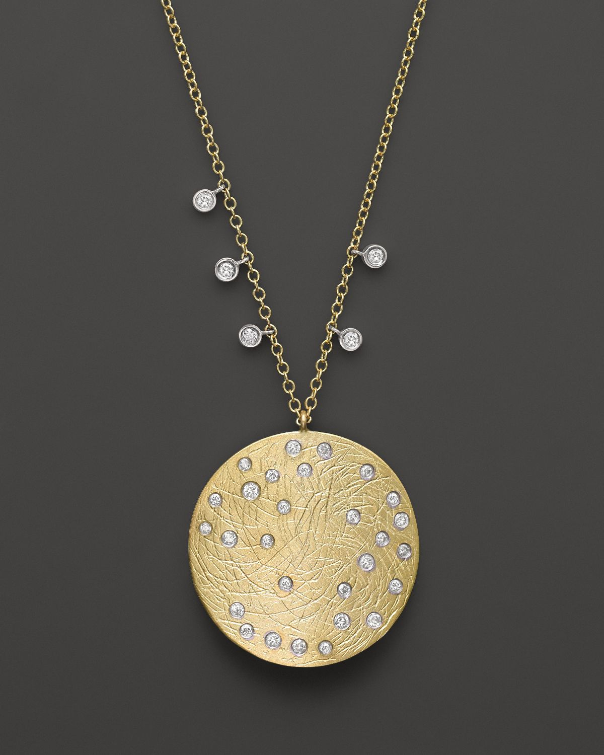 Meira T 14k Yellow Amp White Gold Large Disc Necklace 16