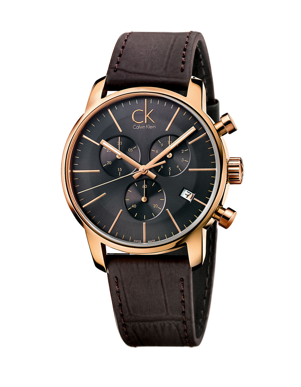 Rose Goldtone Chronograph Brown Leather Strap Watch For Men Lyst