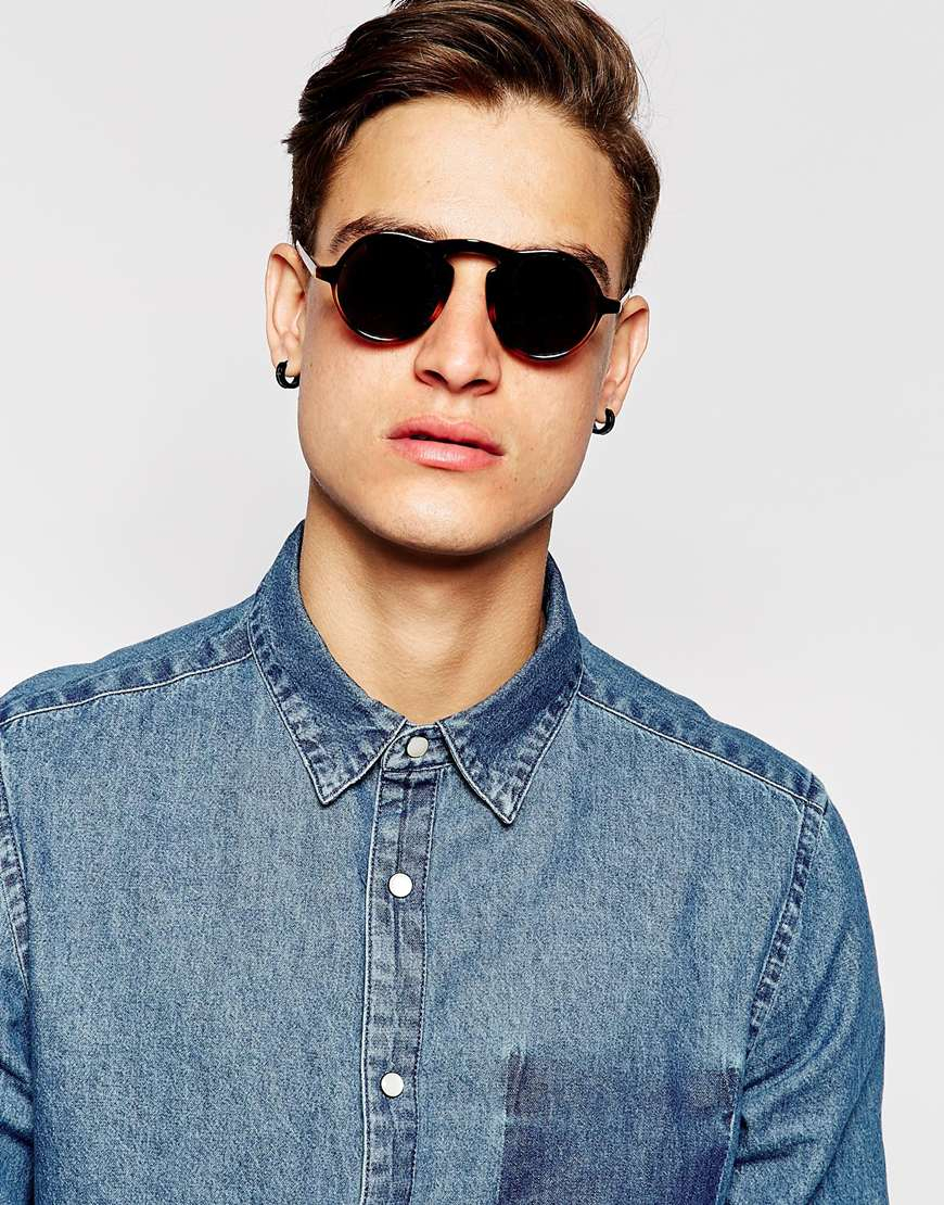 Lyst - Asos Round Sunglasses With Keyhole Nose Bridge In -2415