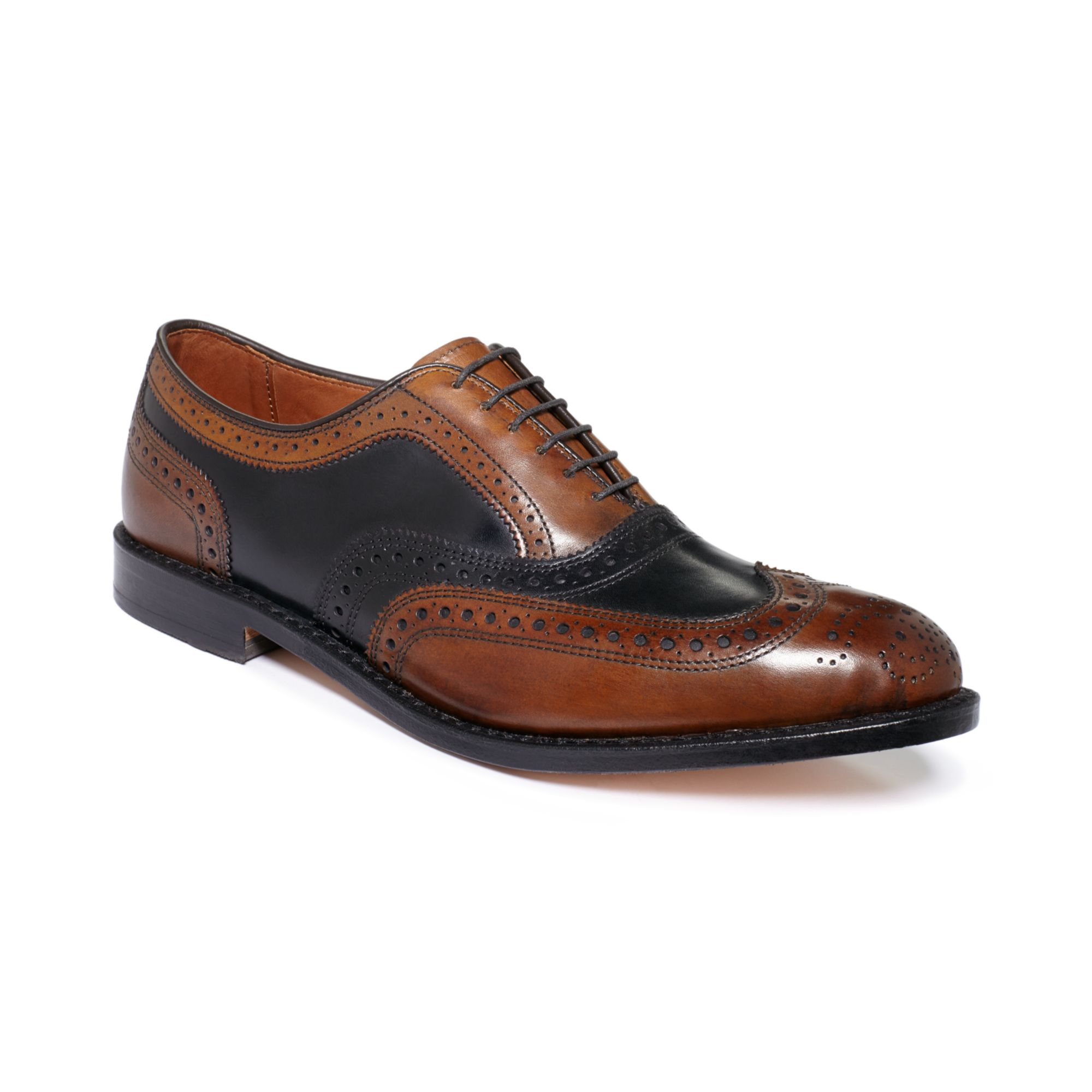 Allen Edmonds Broadstreet Twotone Wingtip Oxfords In Brown