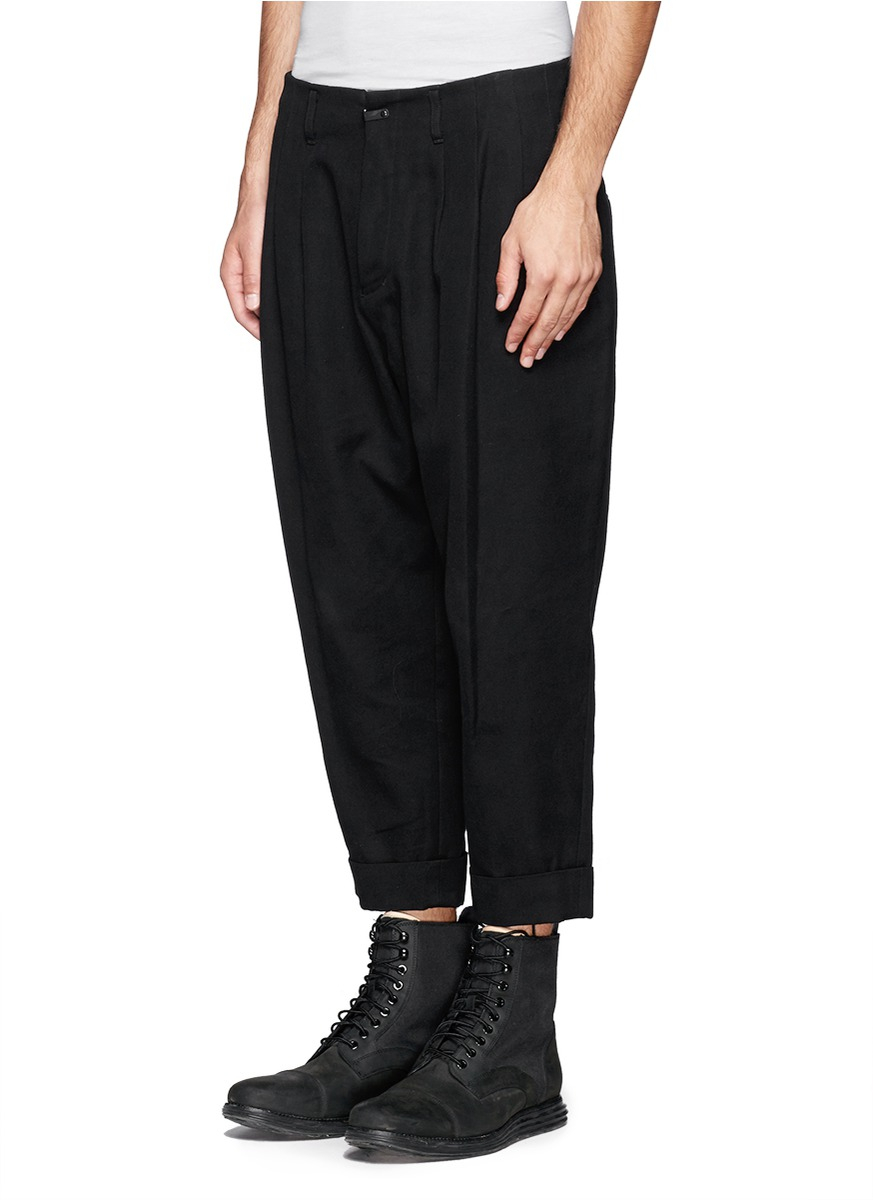 Lyst The Viridi Anne Pleat Front Crop Pants In Black For Men