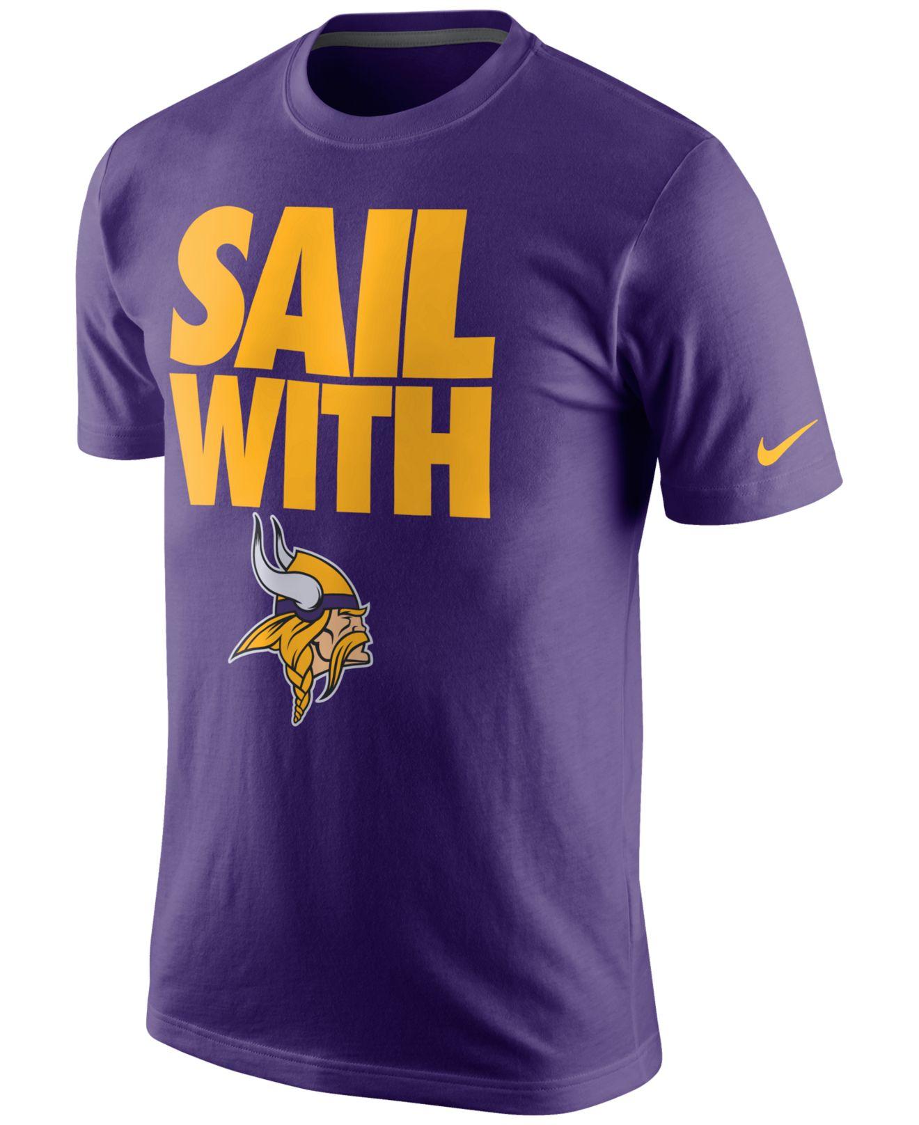 Nike Mens Minnesota Vikings Team Spirit T shirt In Purple