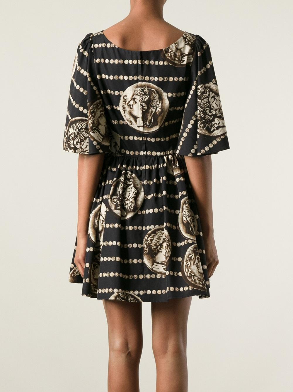 Dolce Amp Gabbana Roman Coin Print Dress In Black Lyst
