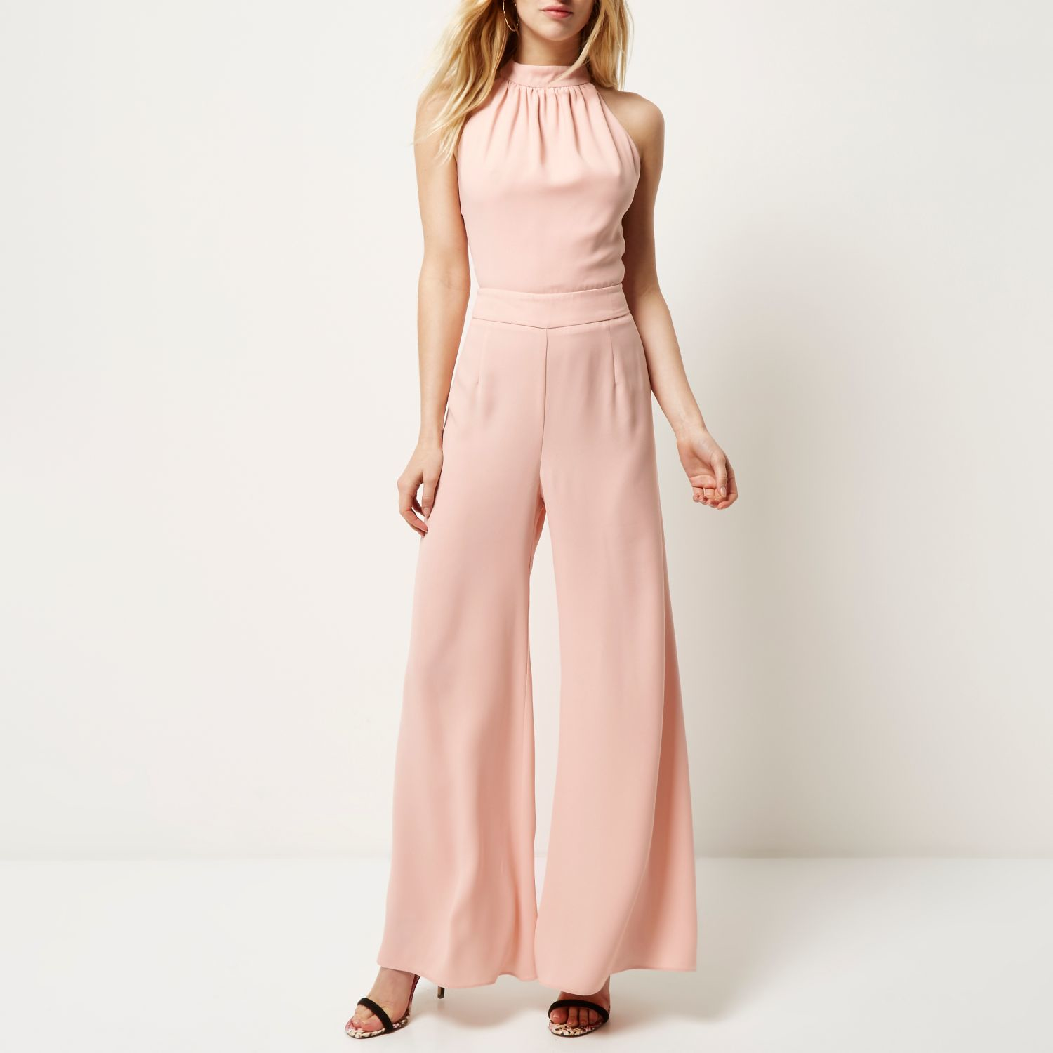 7aa612c323f River Island Pink Halter Neck Wide Leg Jumpsuit In Pink