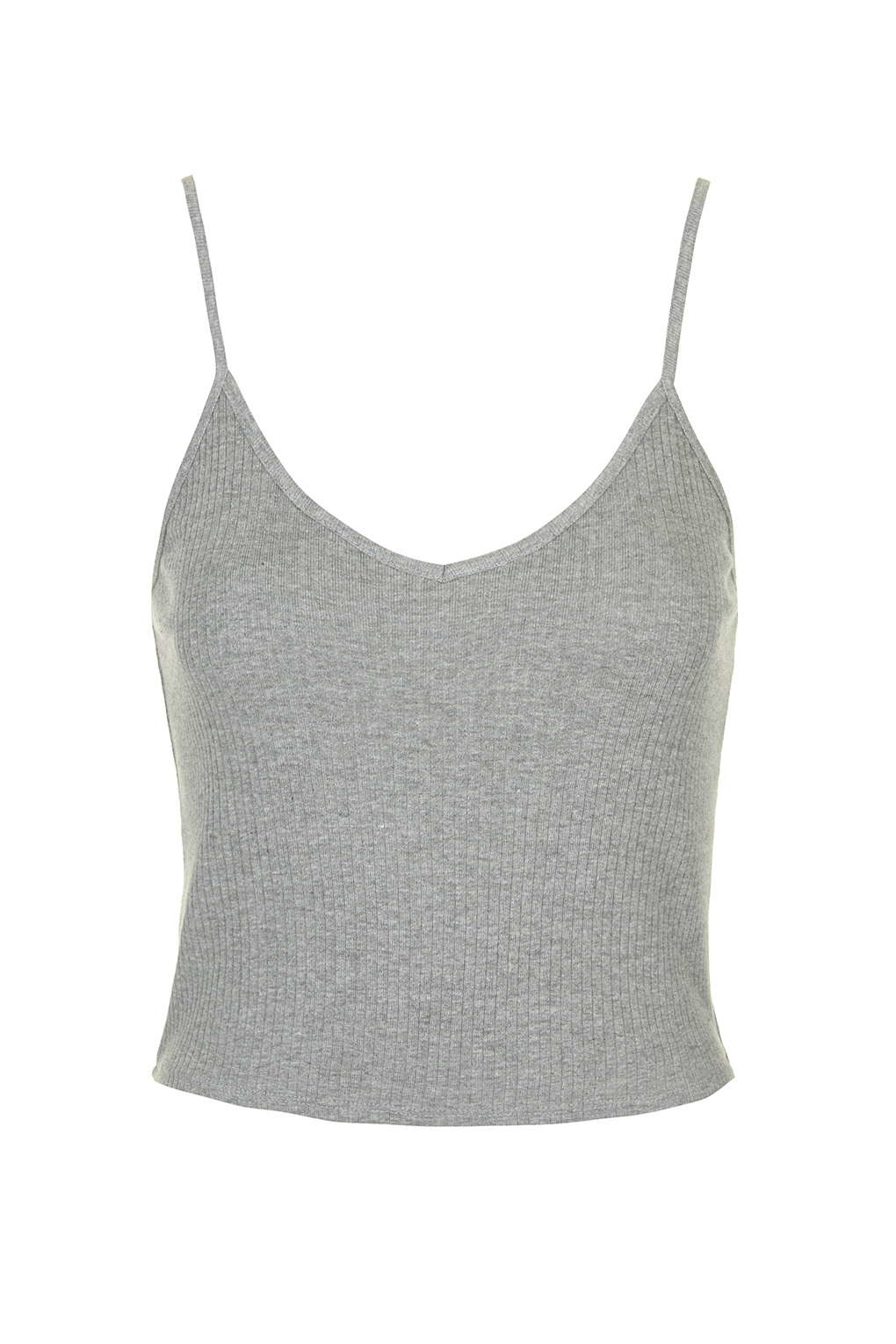 3b33d4029b8bba TOPSHOP Ribbed Cropped Cami in Gray - Lyst