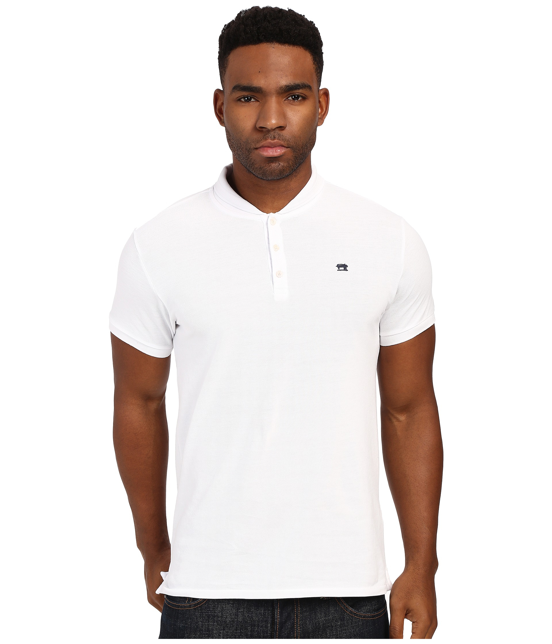 4d620ac49 Scotch & Soda Garment Dyed Sun Fade Polo With Bomber Collar in White ...