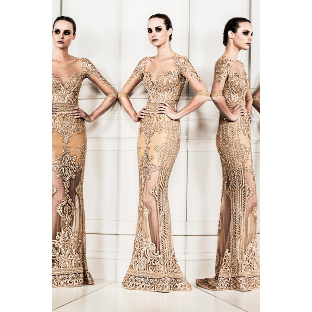 Lyst - Zuhair Murad Embellished Tulle Gown in Metallic